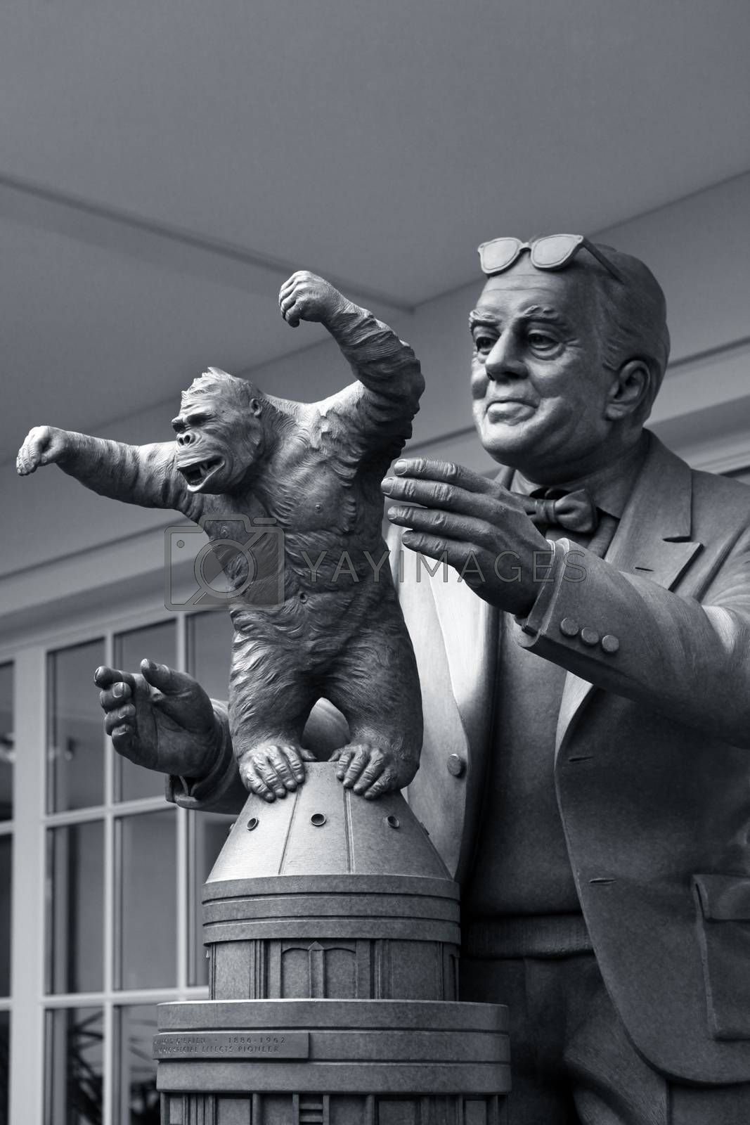 San Francisco, CA, USA - September 14, 2013 : sculpture Willis Harold O'Brien was an American motion picture special effects and stop-motion animation pioneer in the studio of Lucasfilm in San Francisco