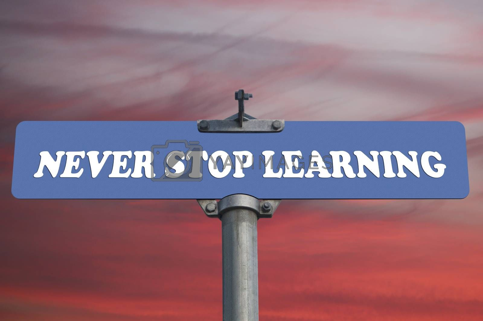 Never stop learning road sign