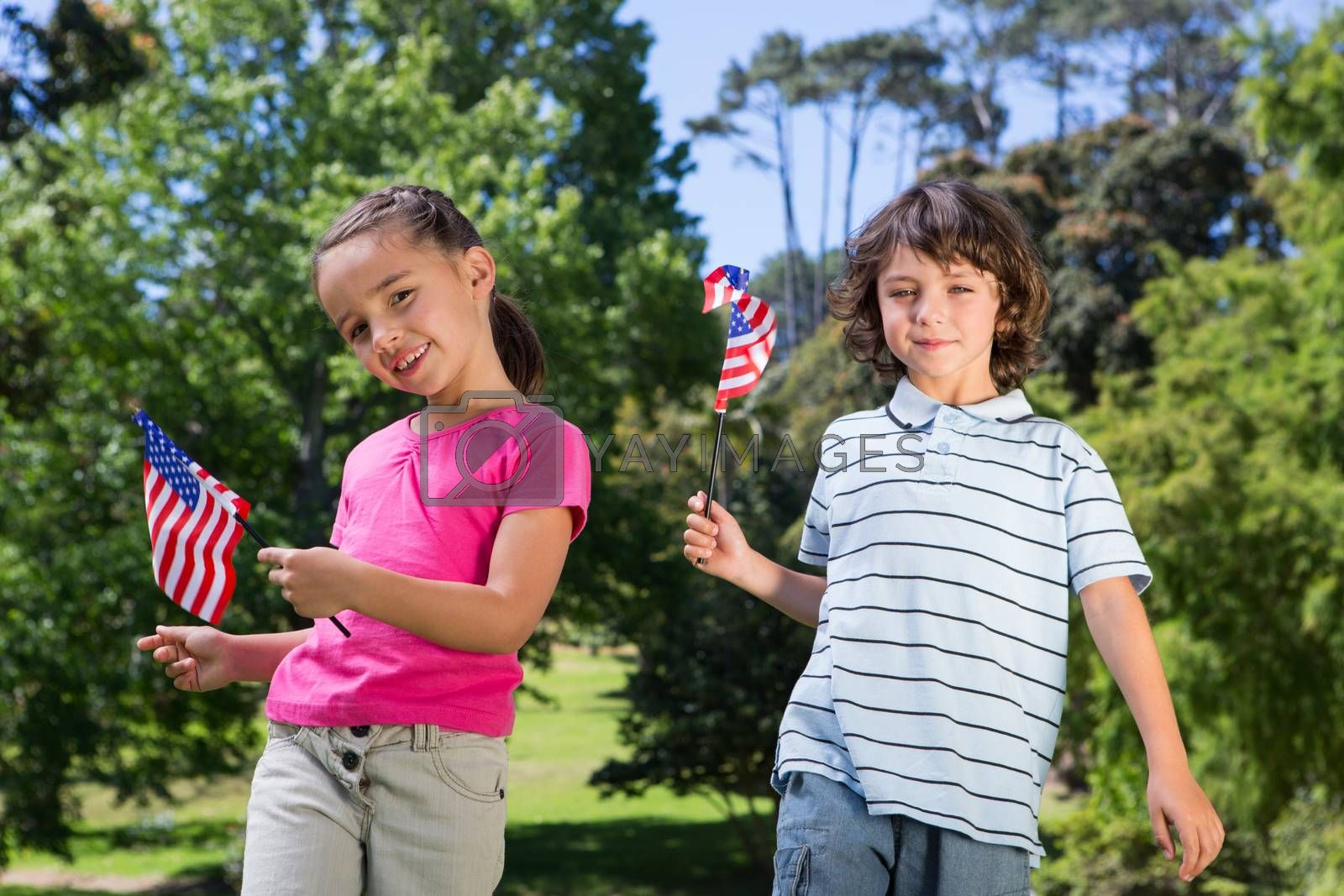 Little siblings waving american flag on a sunny day