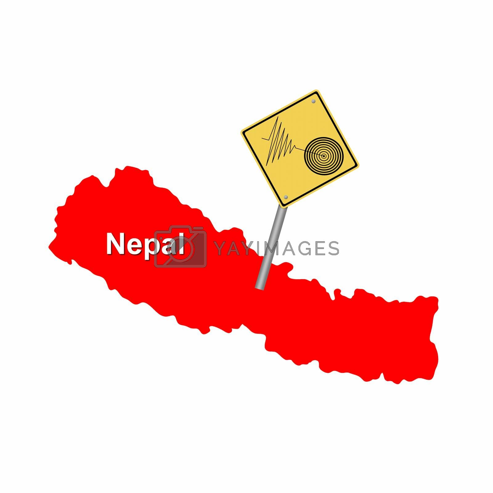 Red map of Nepal with a tremore warning sign.