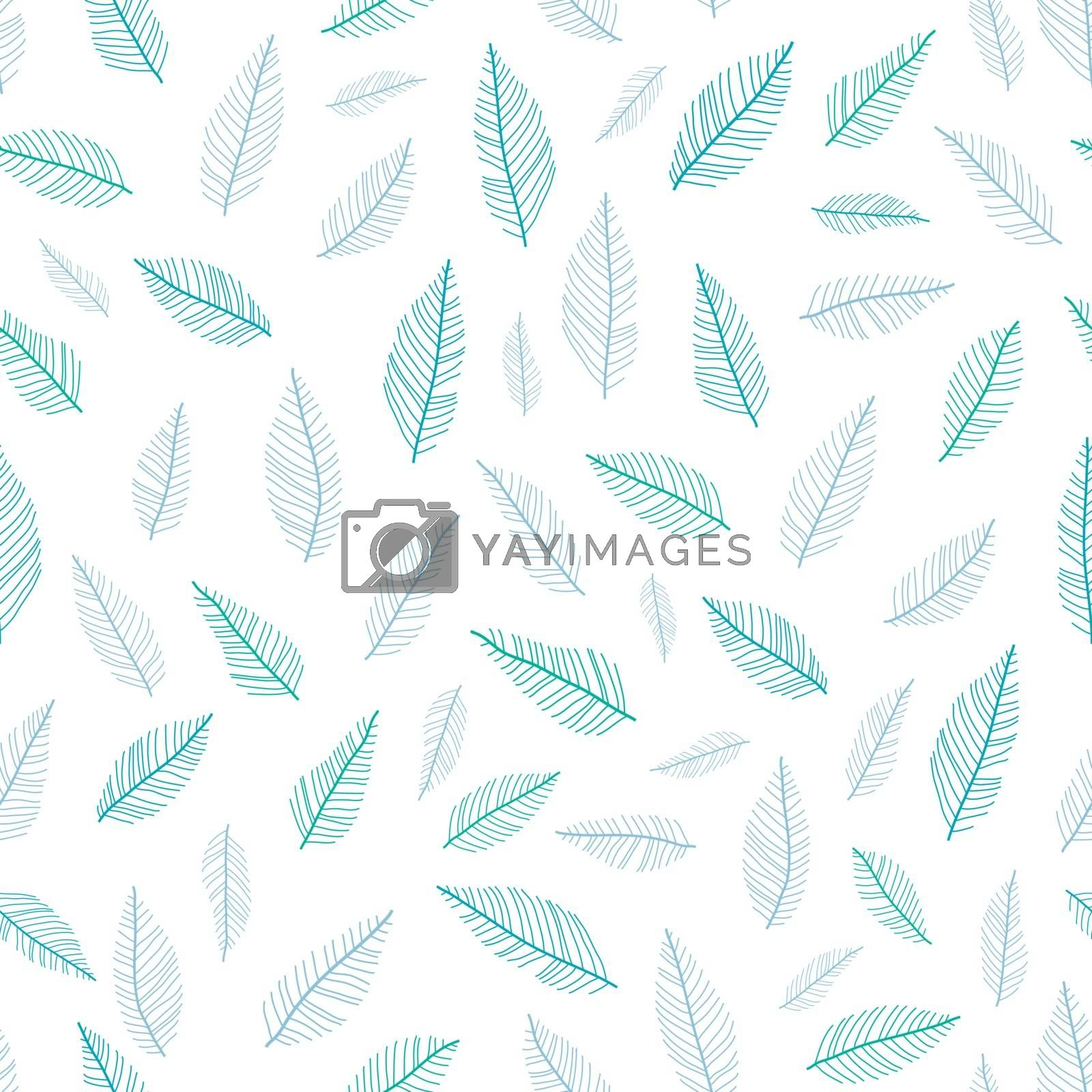 Vectgor blue green feathers pastel seamless pattern background graphic design