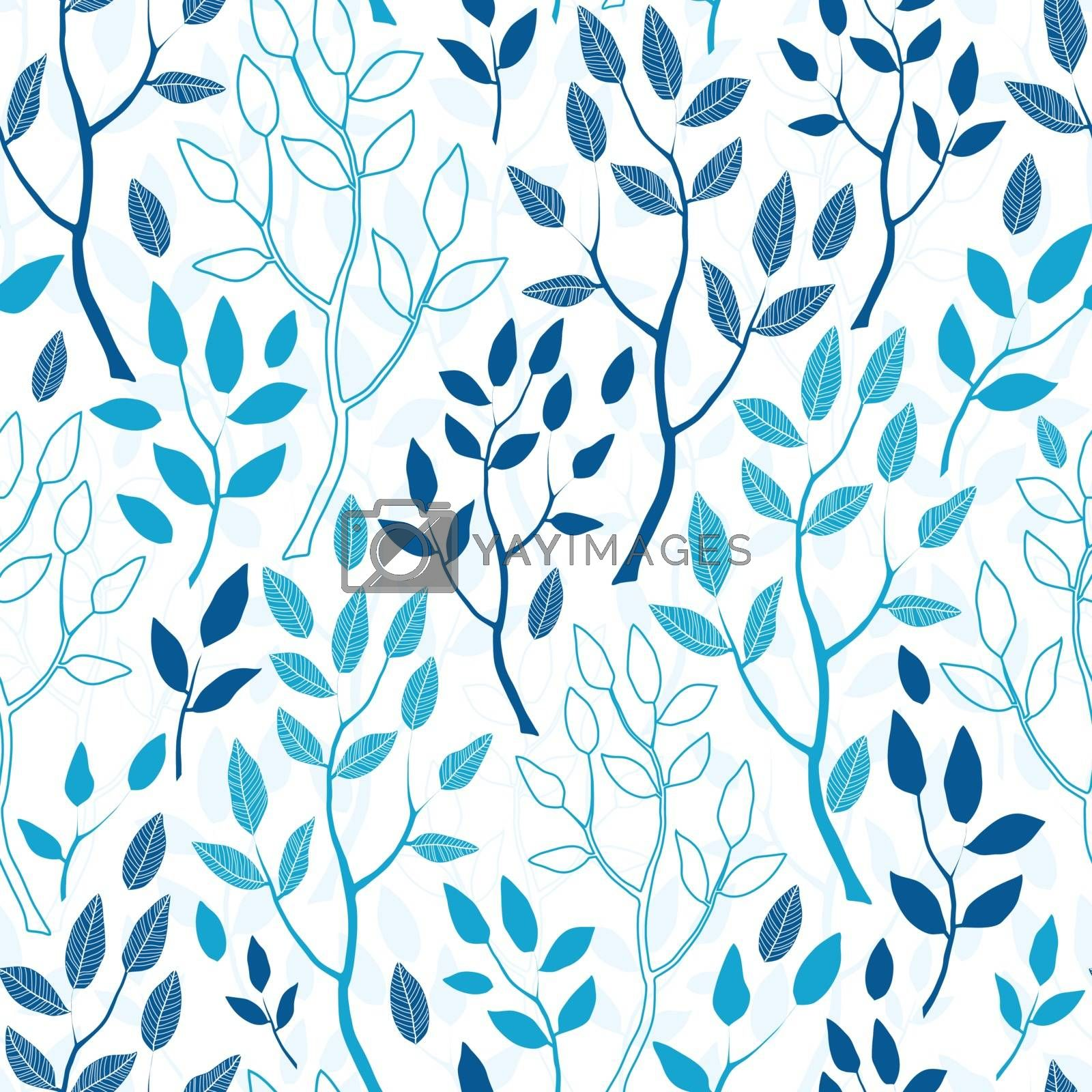Vector blue forest seamless pattern background graphic design