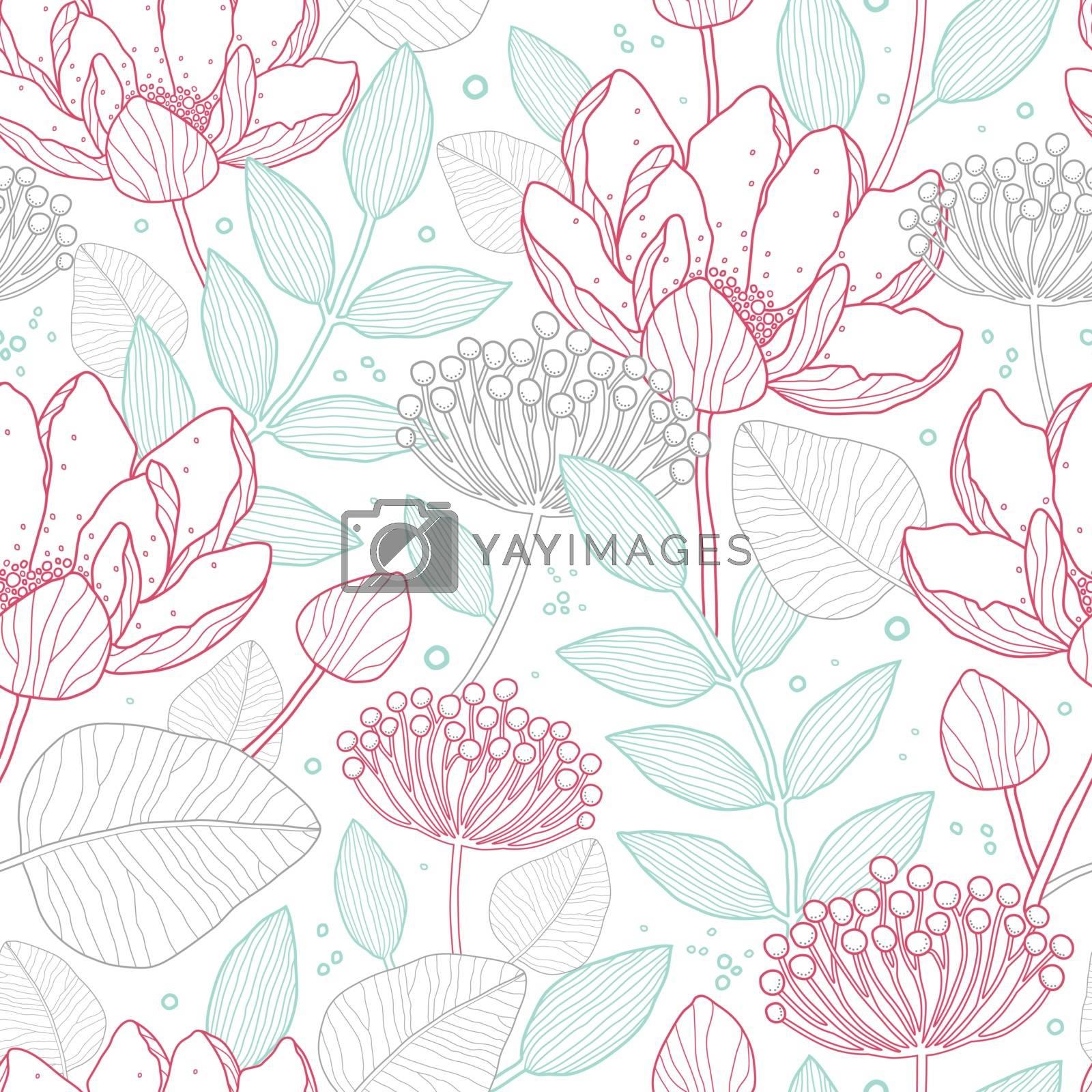 Vector modern line art florals seamless pattern background graphic design