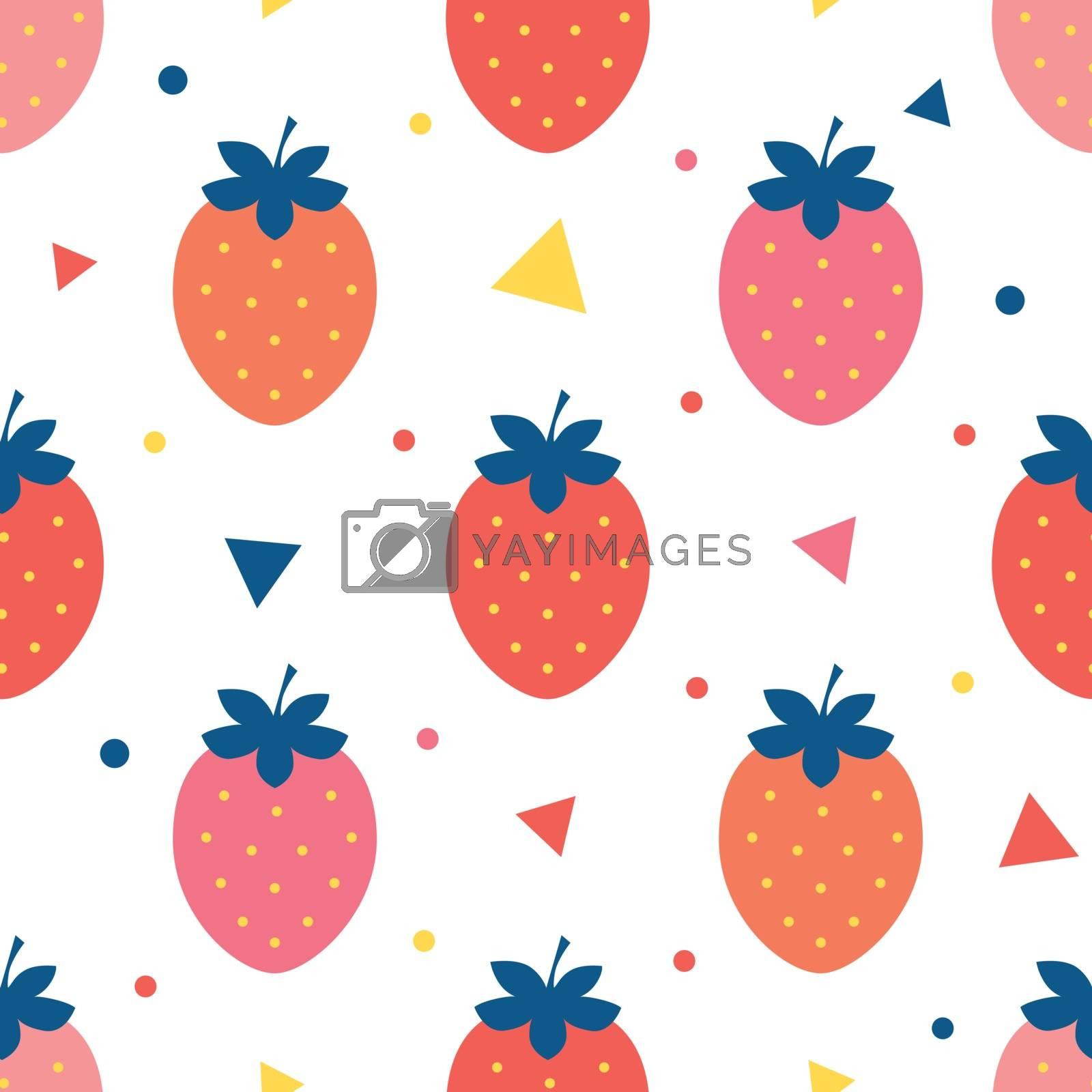 Vector fun strawberries seamless pattern background graphic design