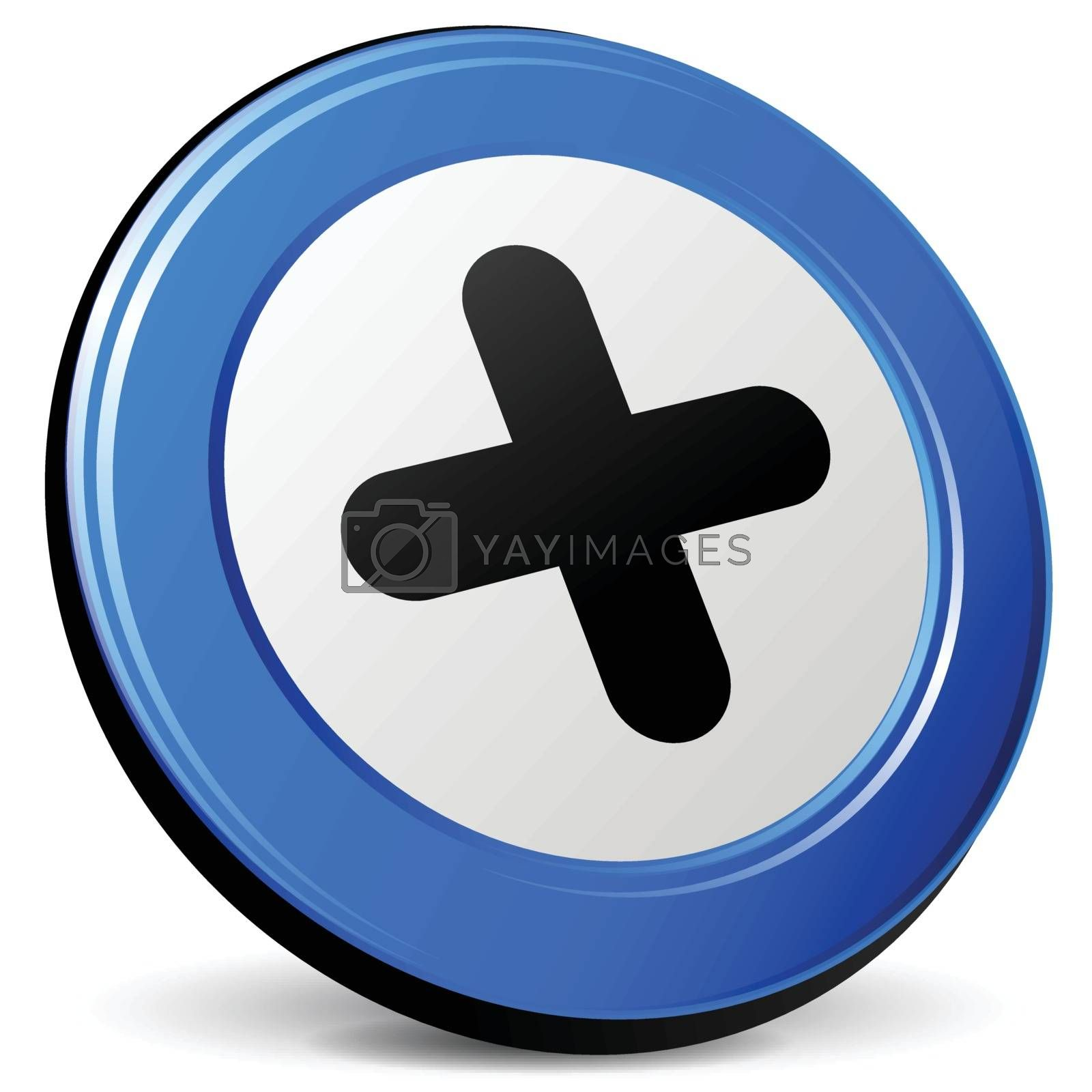 illustration of plus 3d blue design icon
