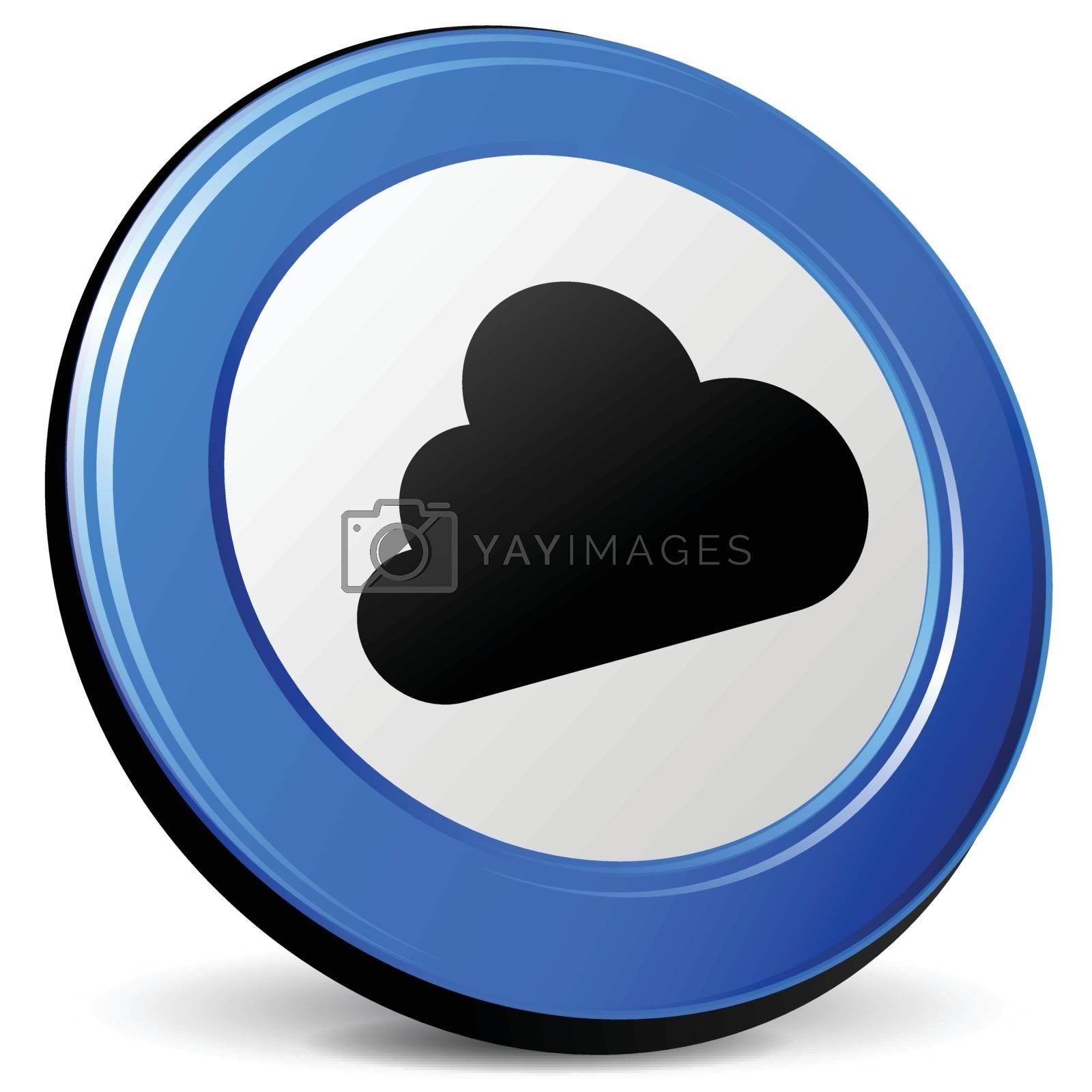 illustration of cloud 3d blue design icon