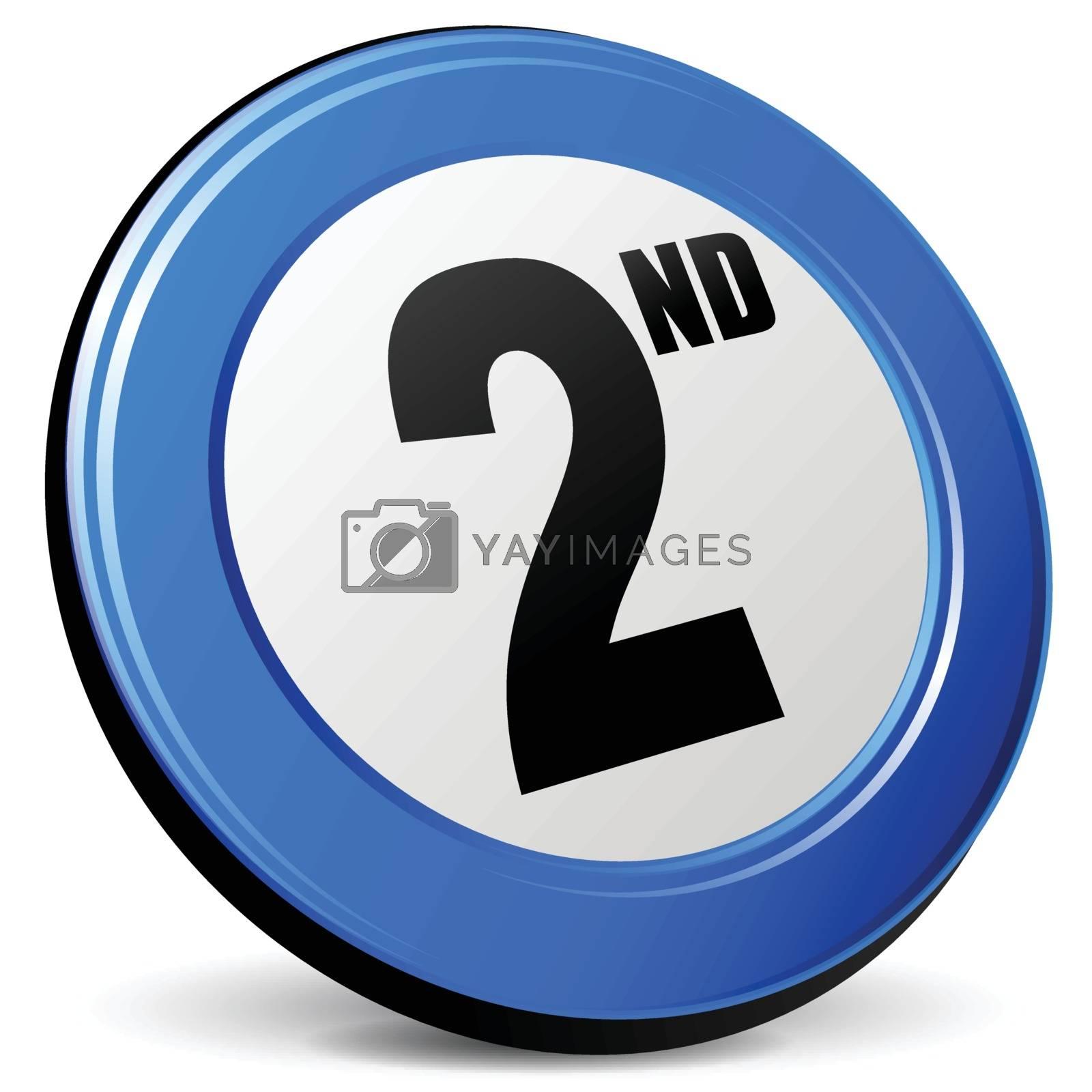 illustration of second 3d blue design icon