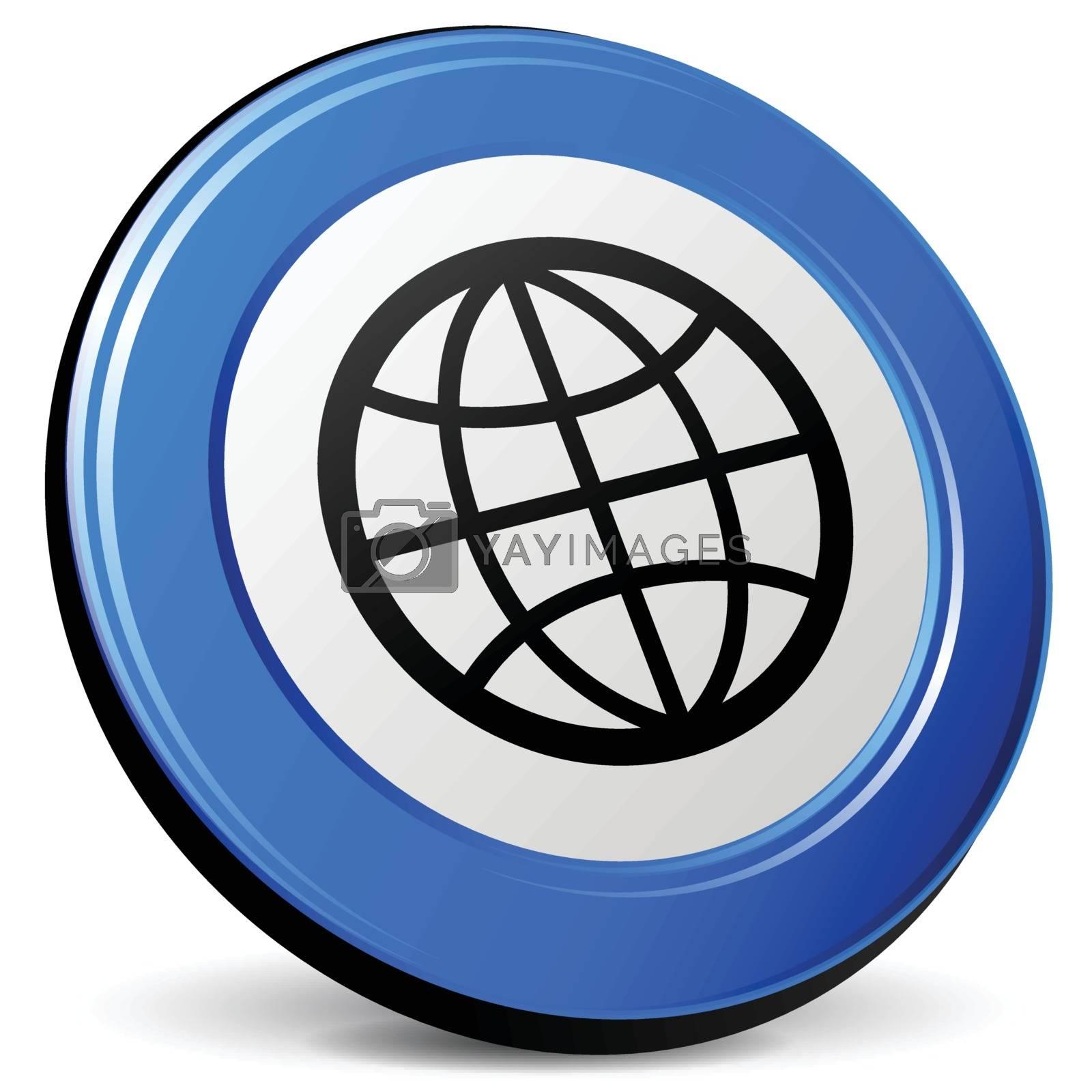 illustration of globe 3d blue design icon
