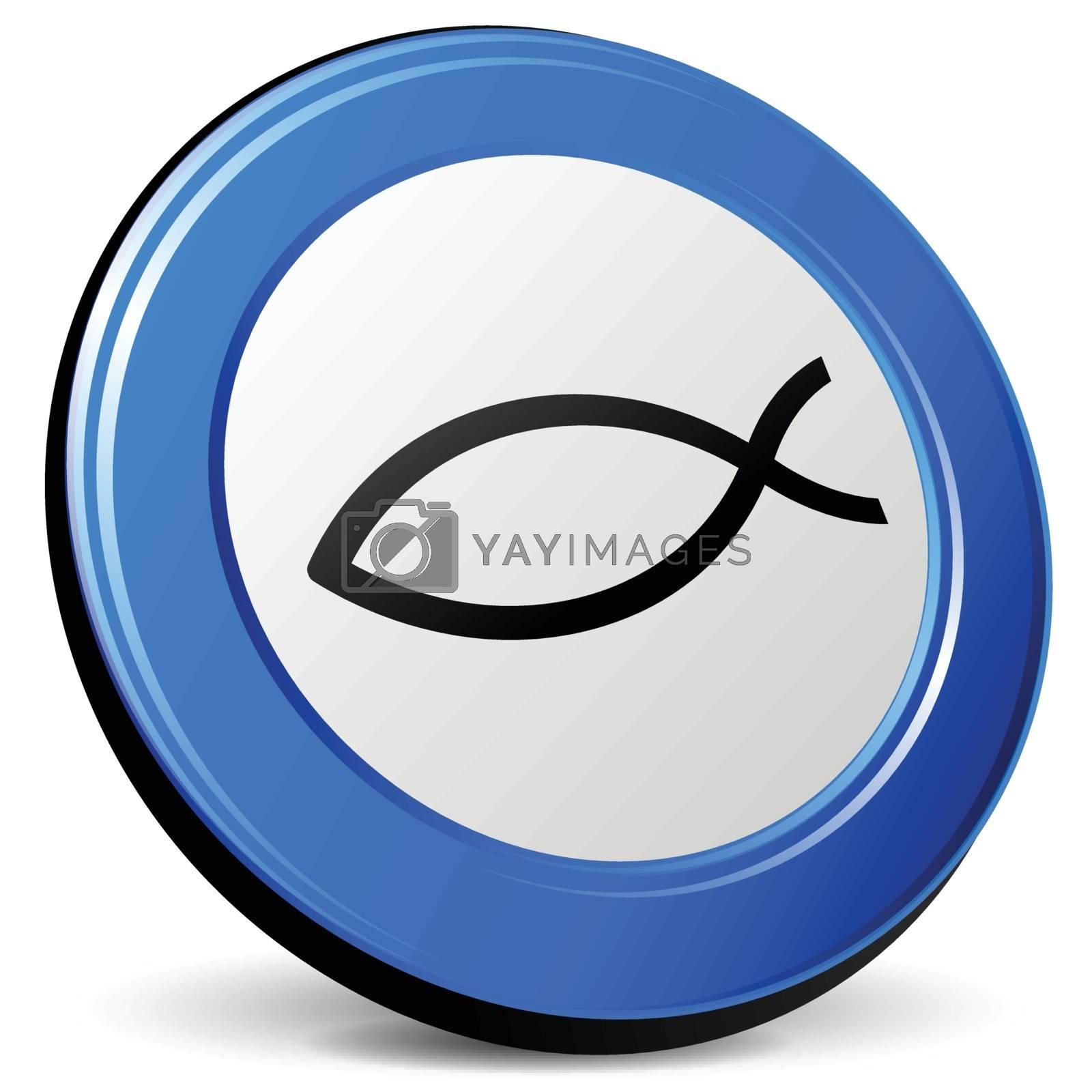 illustration of jesus 3d blue design icon