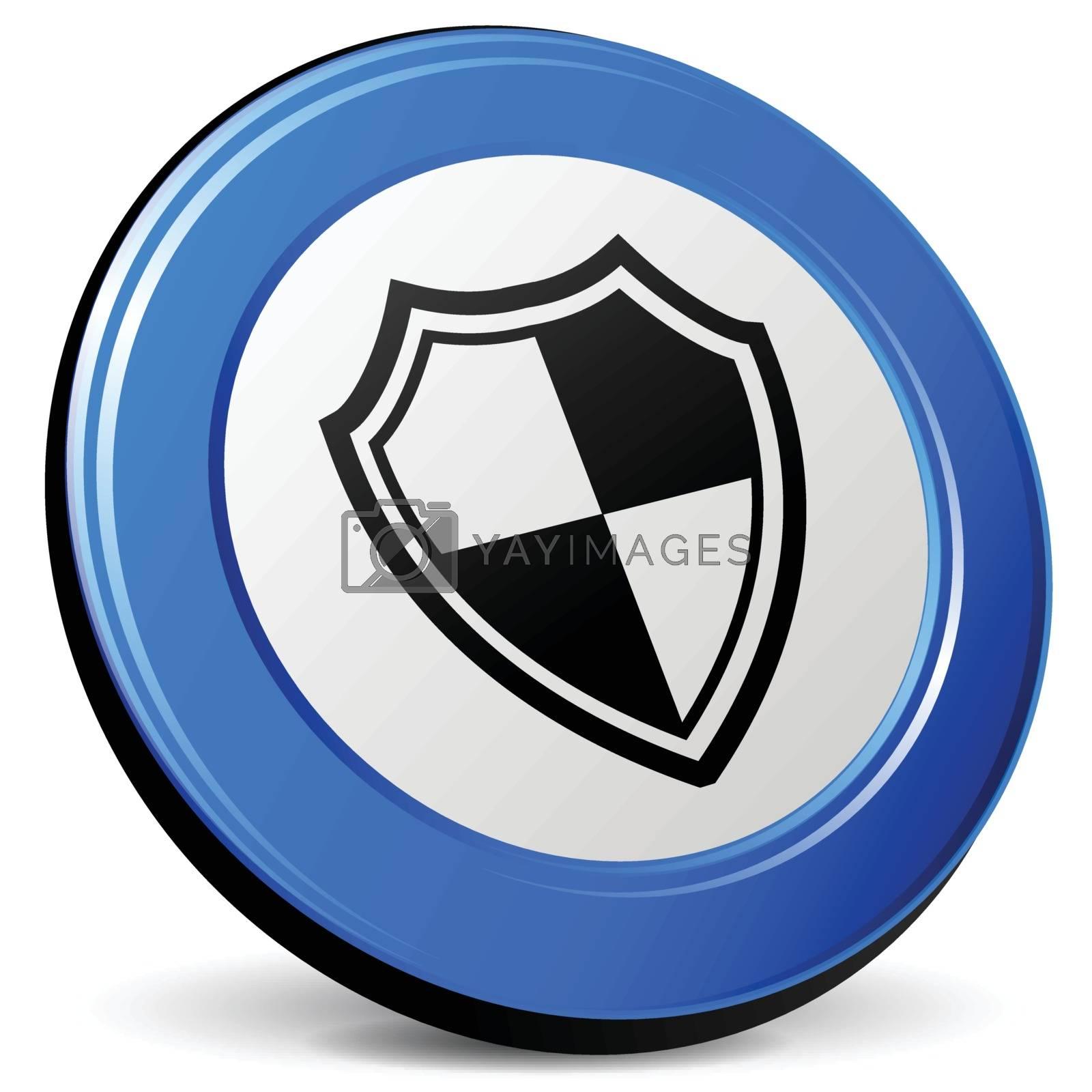 illustration of shield 3d blue design icon