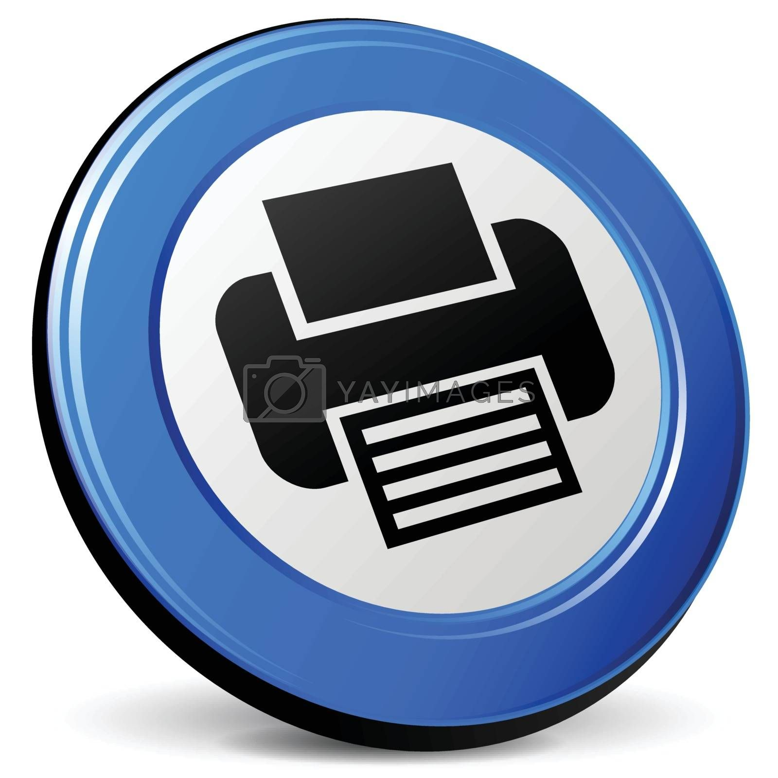 illustration of print 3d blue design icon