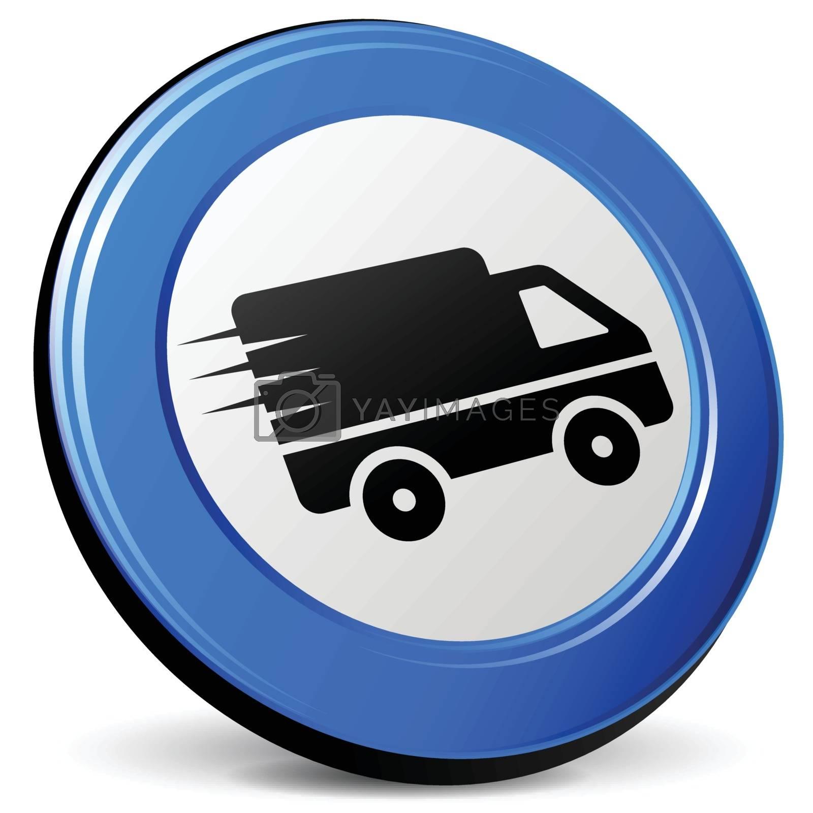 illustration of van 3d blue design icon