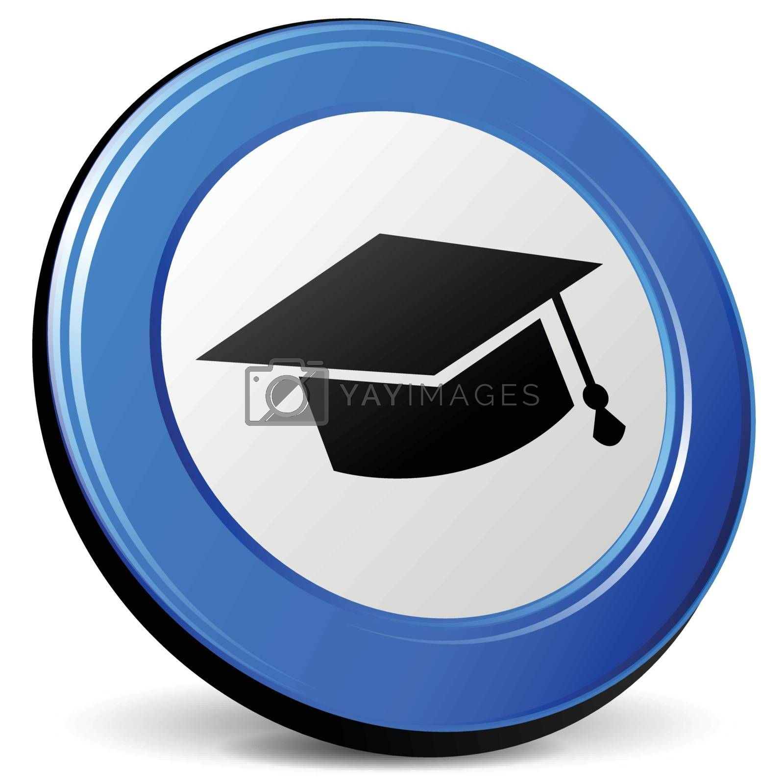 illustration of education 3d blue design icon