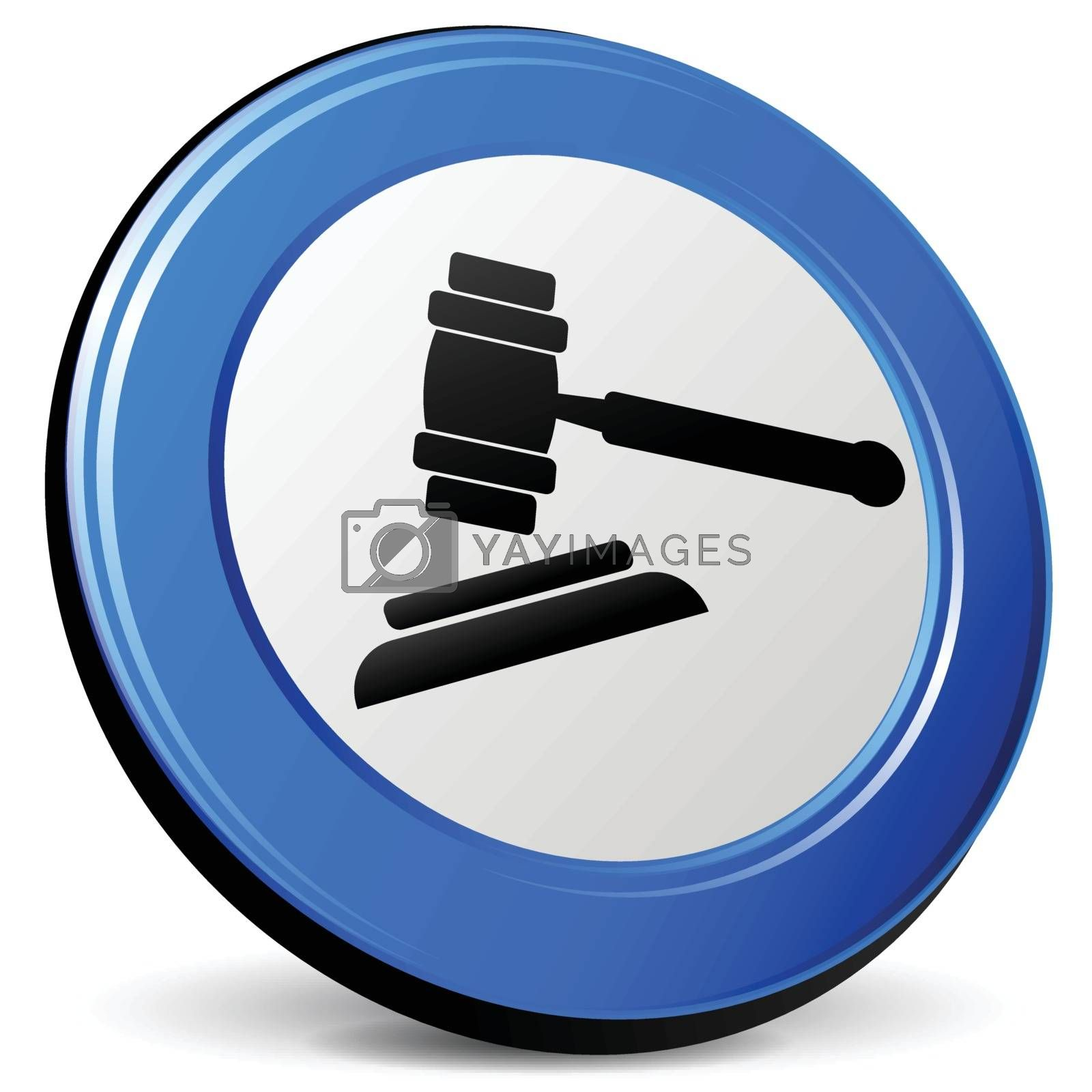 illustration of judge 3d blue design icon