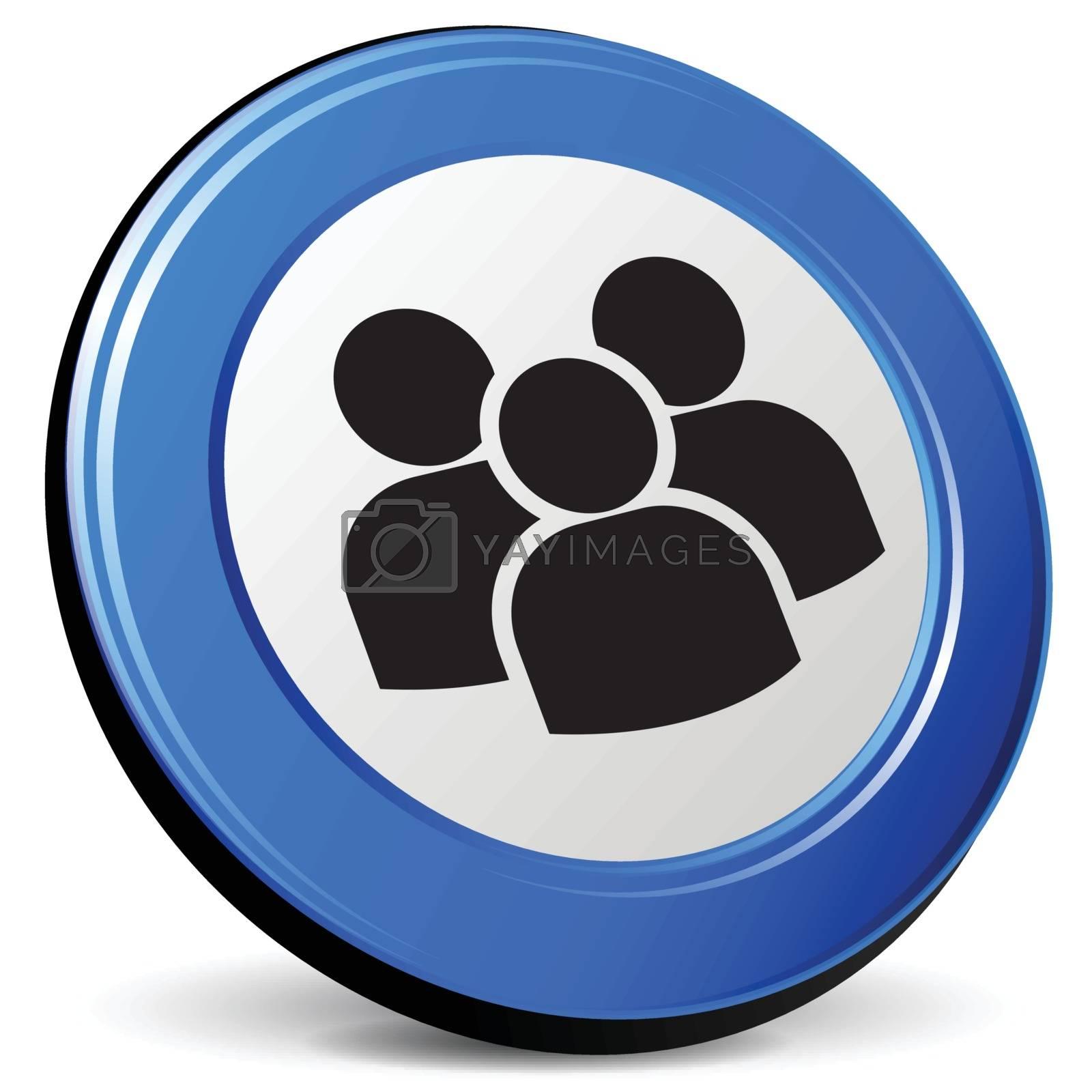 illustration of team 3d blue design icon