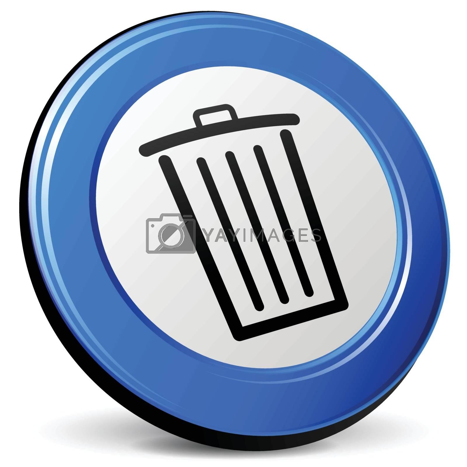 illustration of delete 3d blue design icon