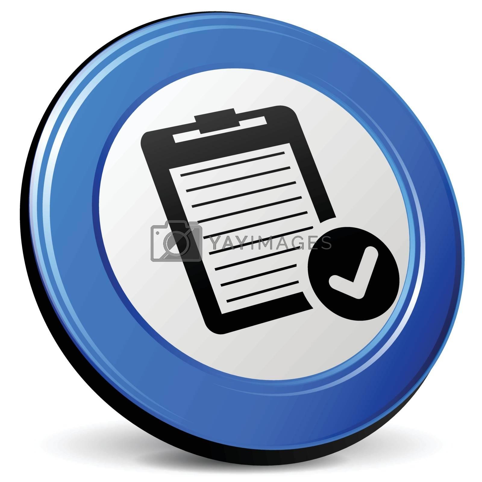 illustration of report 3d blue design icon