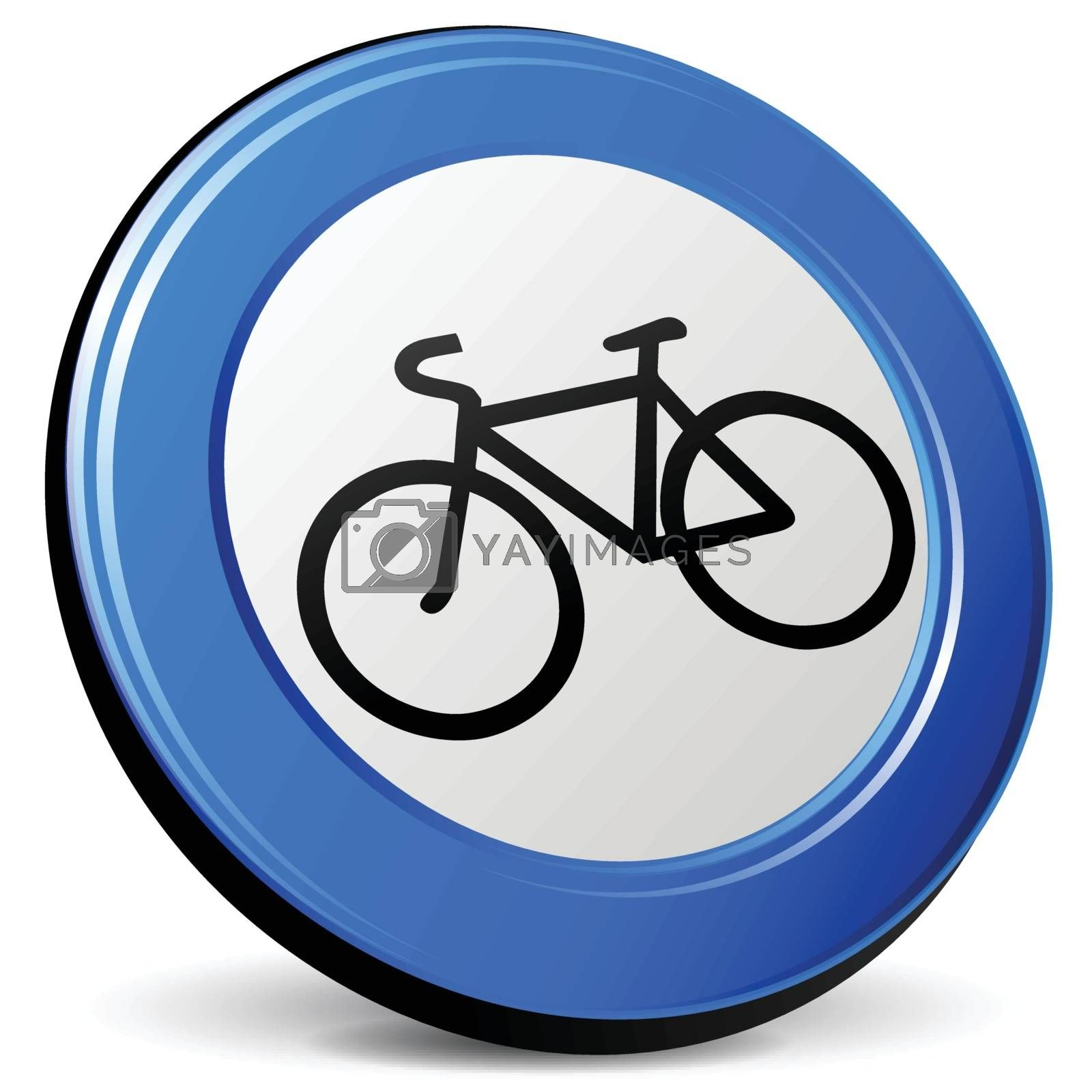 illustration of bicycle 3d blue design icon