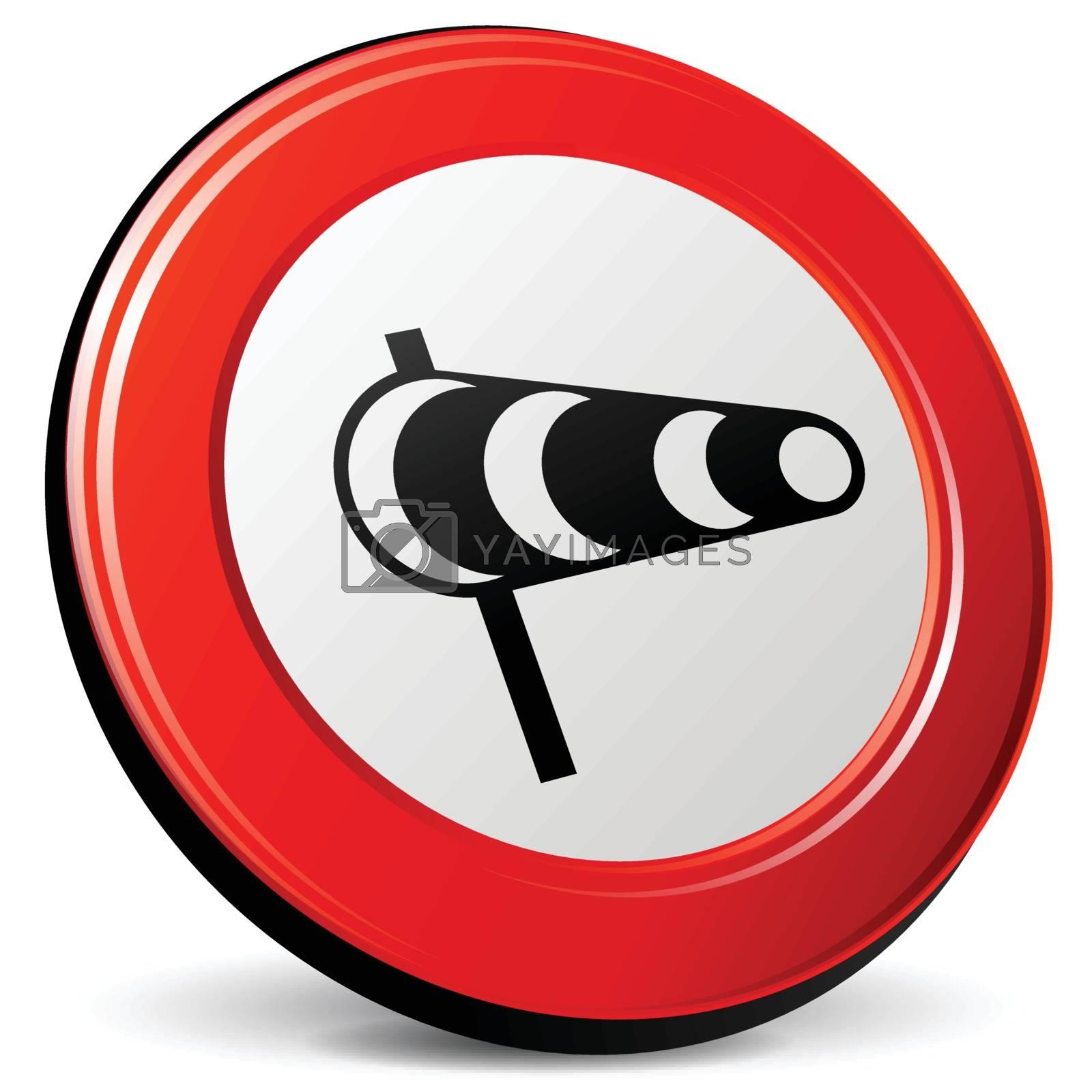 illustration of wind 3d red design icon