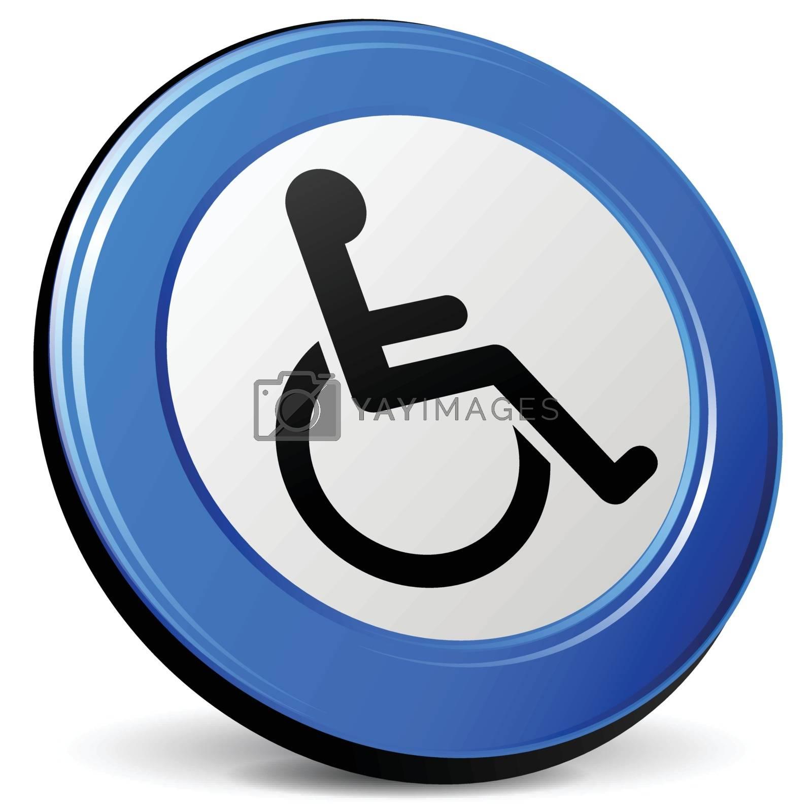 illustration of wheelchair 3d blue design icon