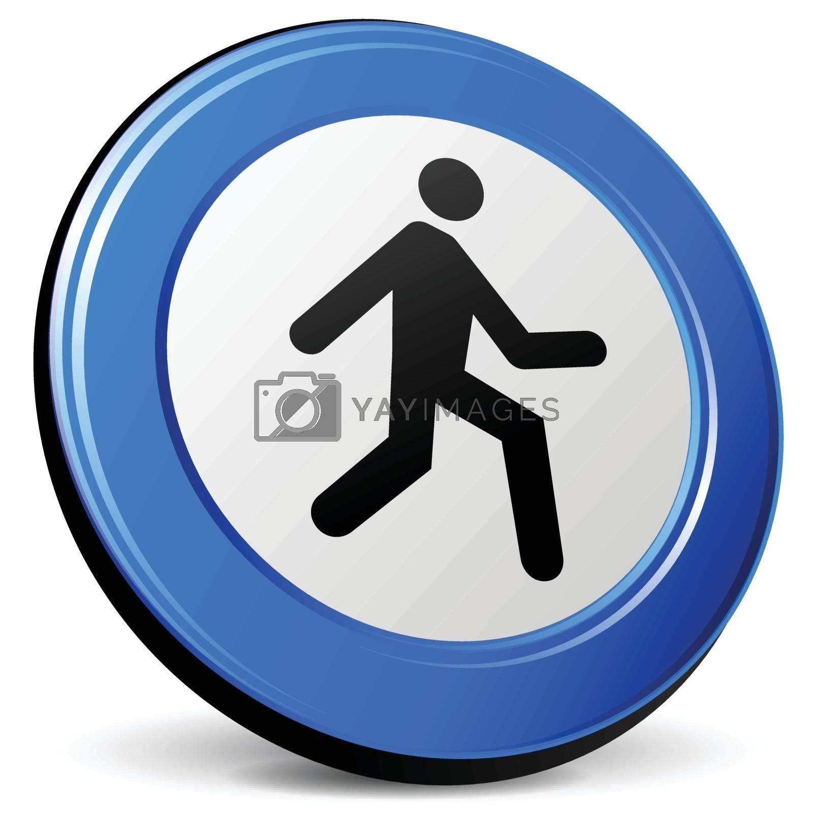 illustration of run 3d blue design icon