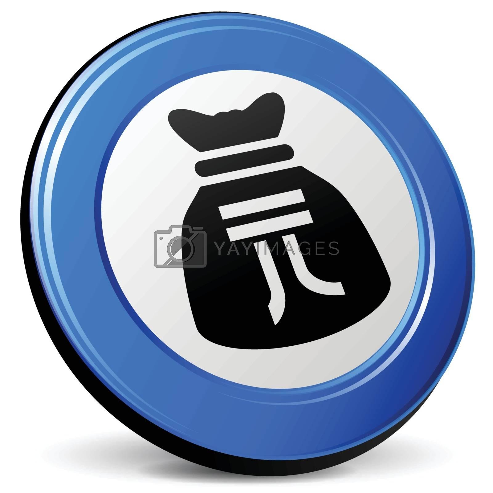 illustration of yuan bag 3d blue icon