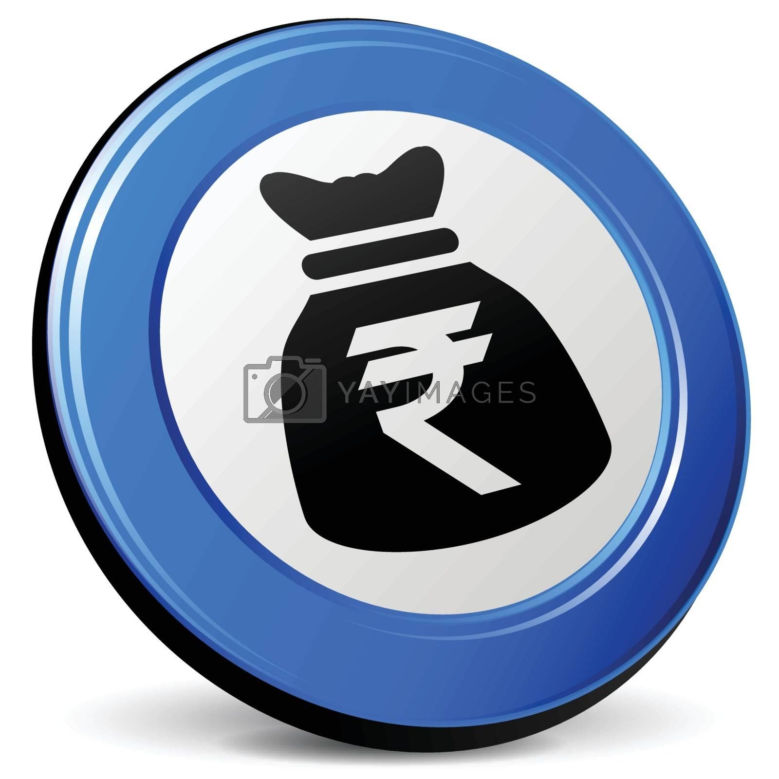 illustration of rupee bag 3d blue icon