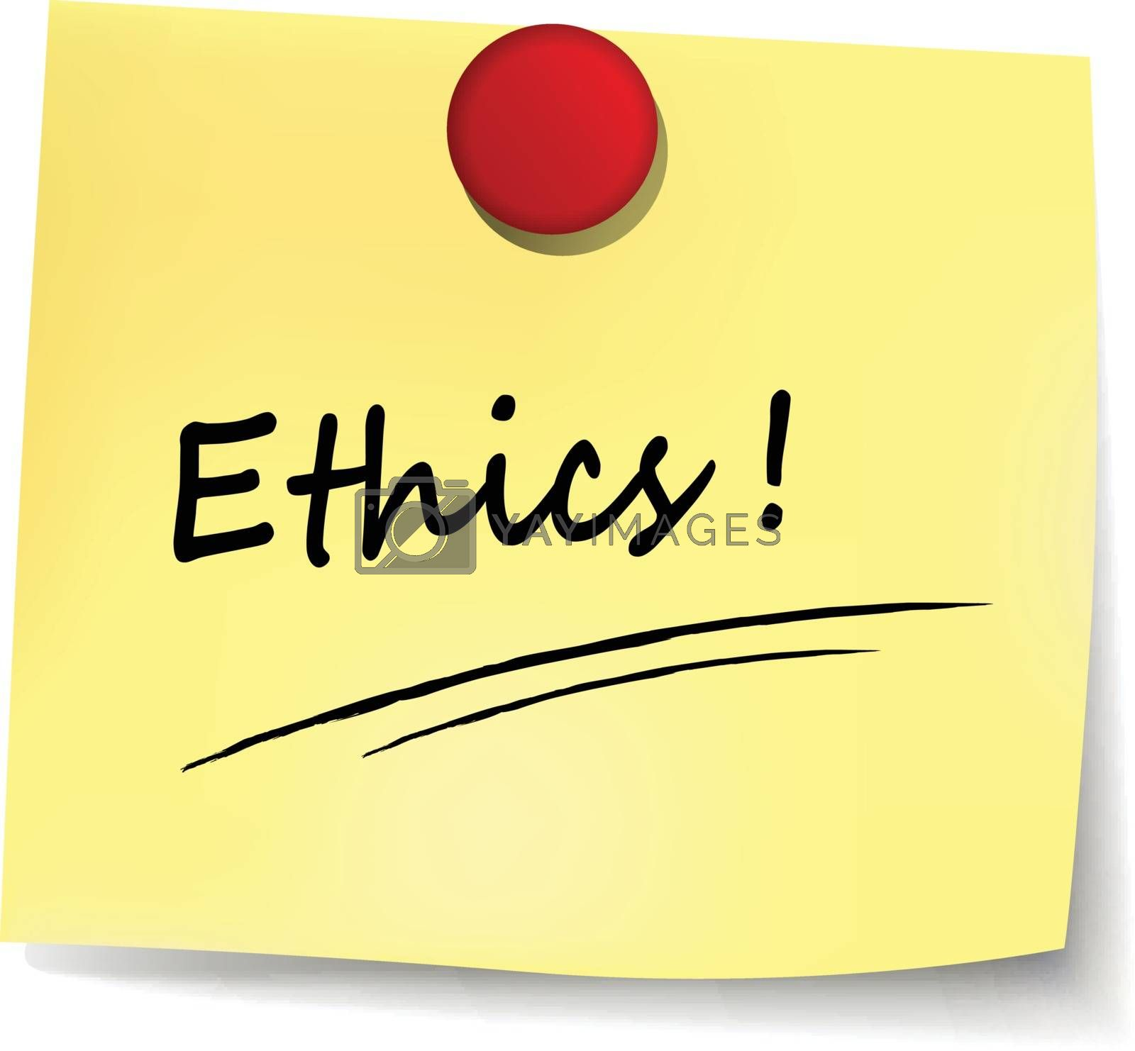 illustration of ethics yellow note concept sign