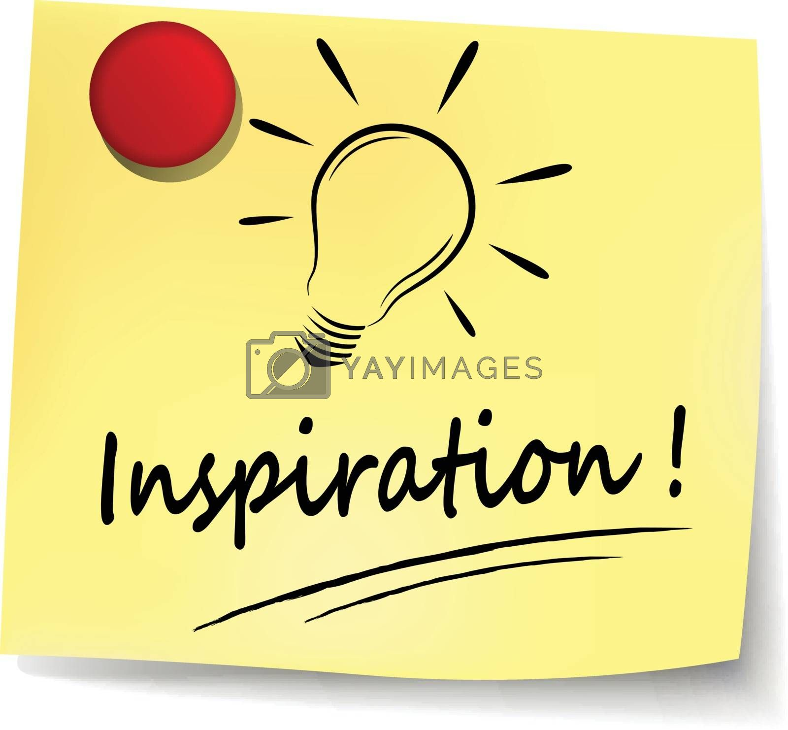illustration of inspiration yellow note concept sign