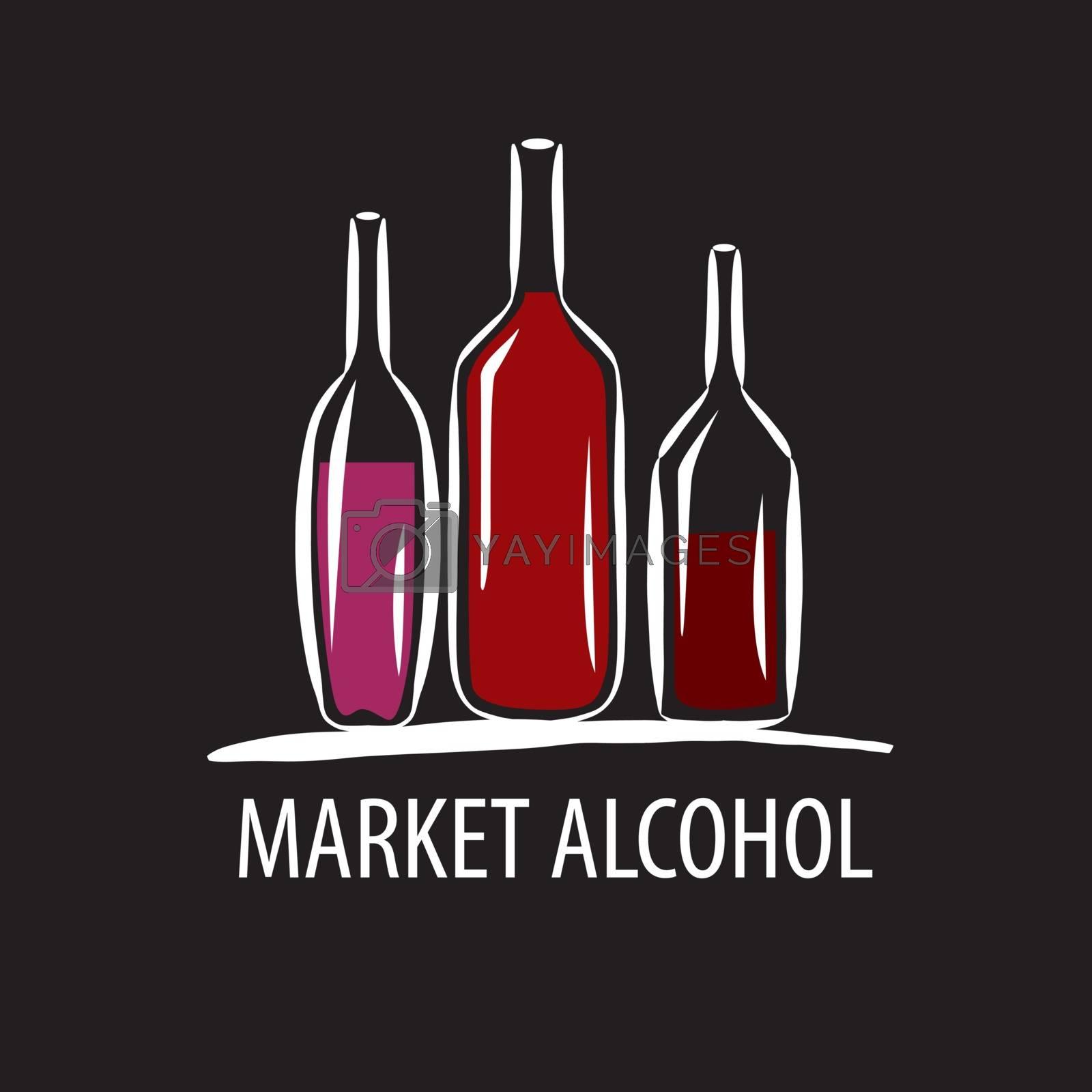 vector logo wine bottles on a black background