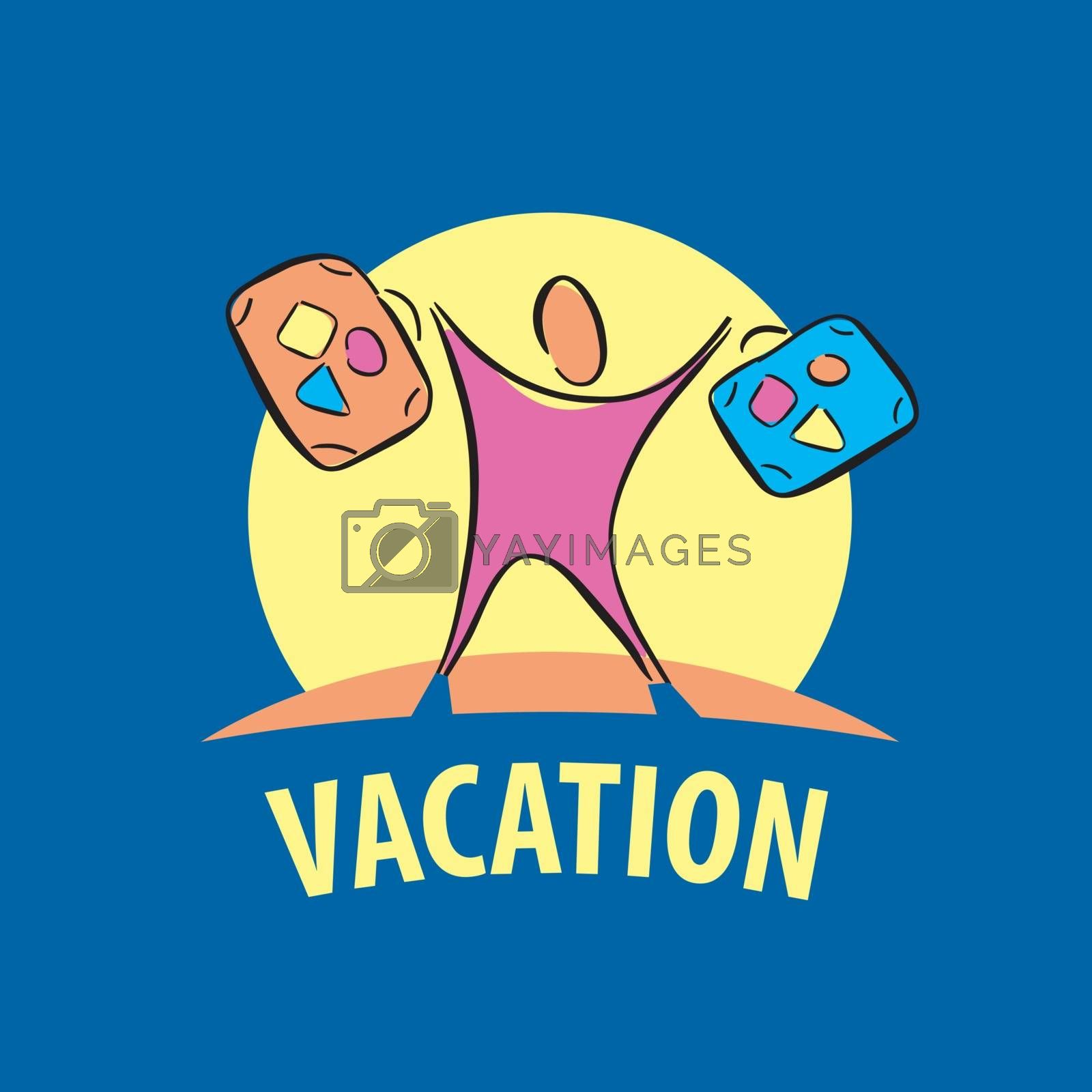 vector logo tourist traveling with suitcases