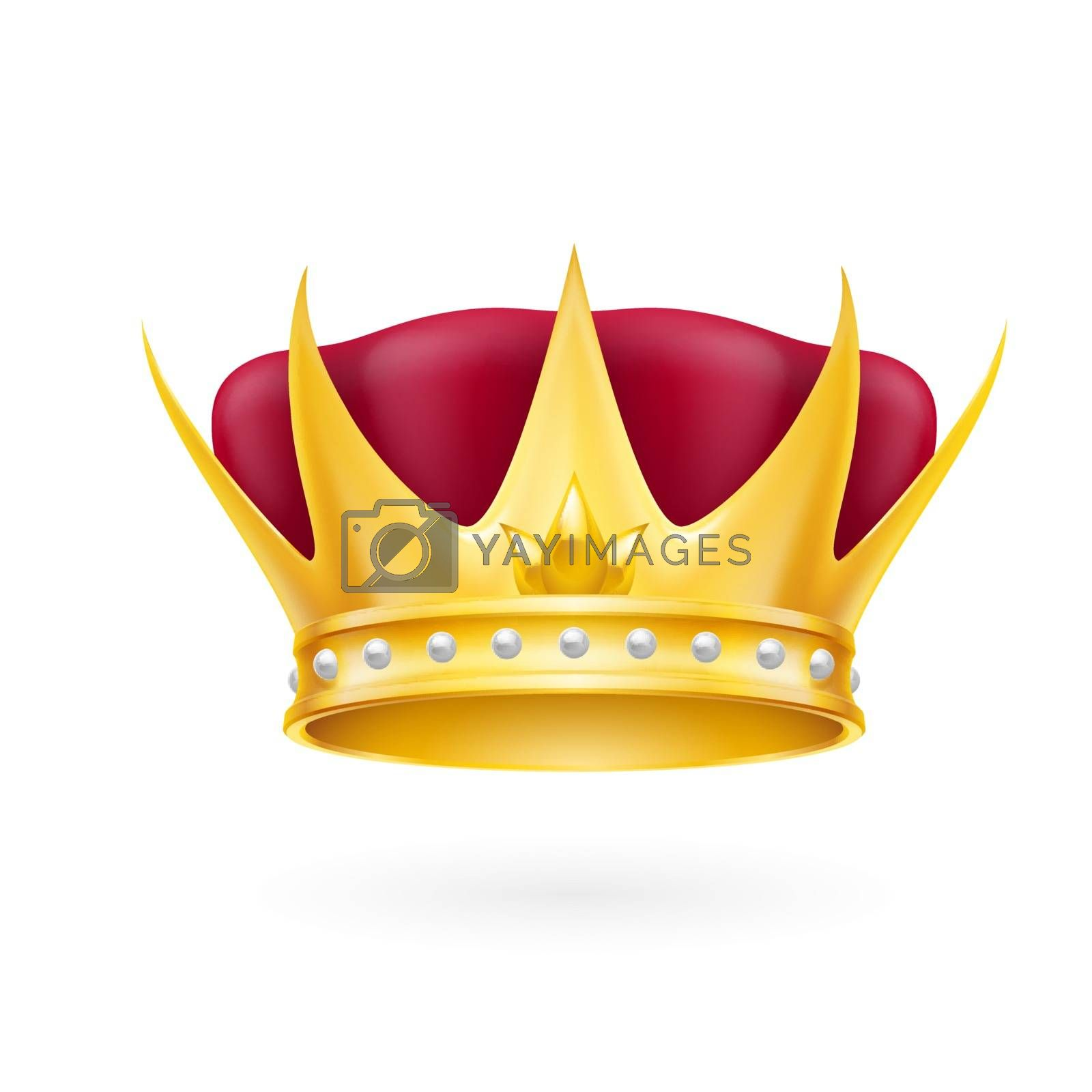 Golden crown royal attribute isolated on a white