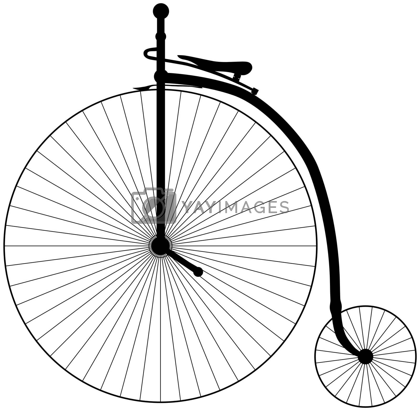 Illustration of an antique Penny Farthing Bicycle