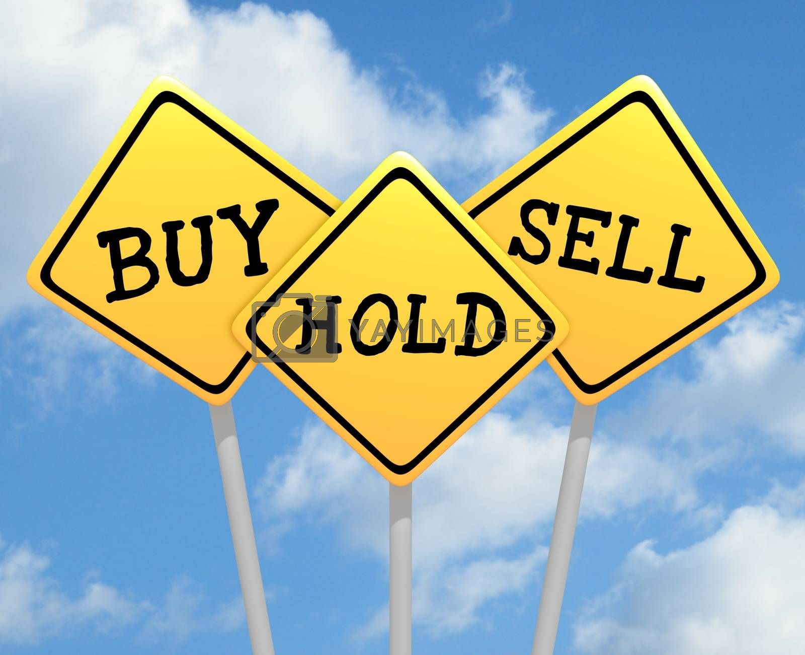 Illustration of three road signs with buy hold and sell text