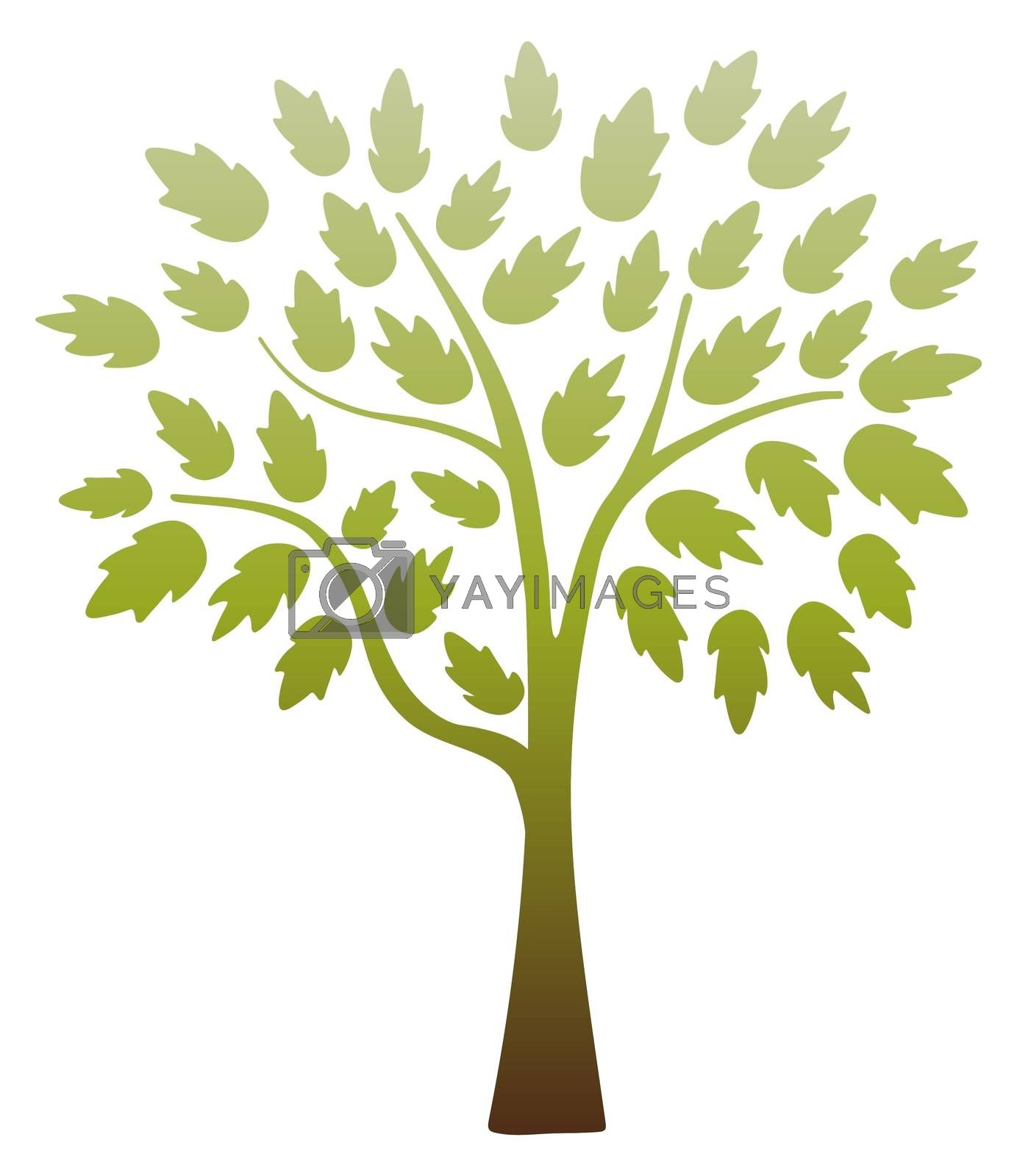 Illustration of an isolated brown and green tree