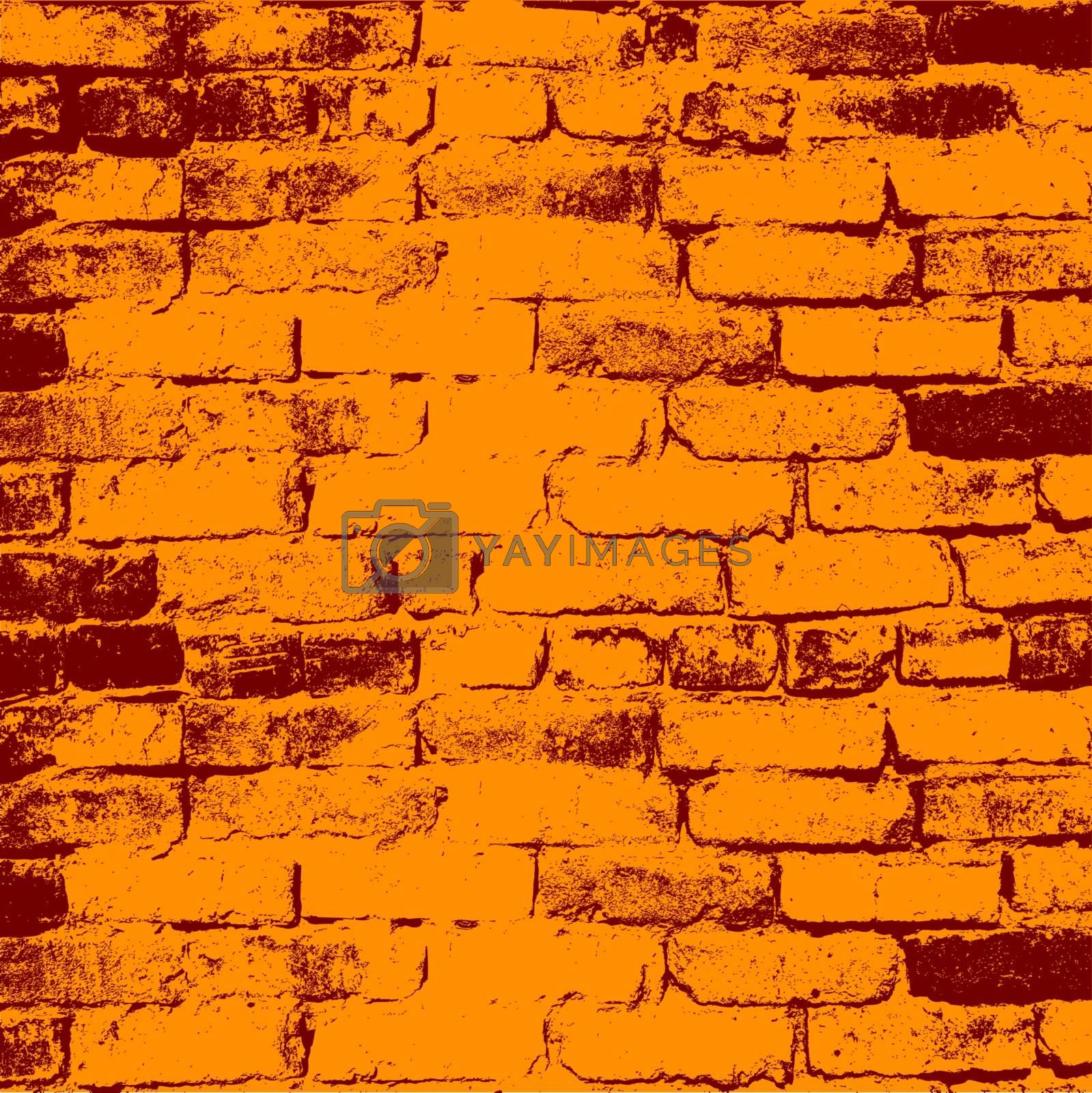 Brick wall of the house, with lines of a laying of a solution. Vector illustration.