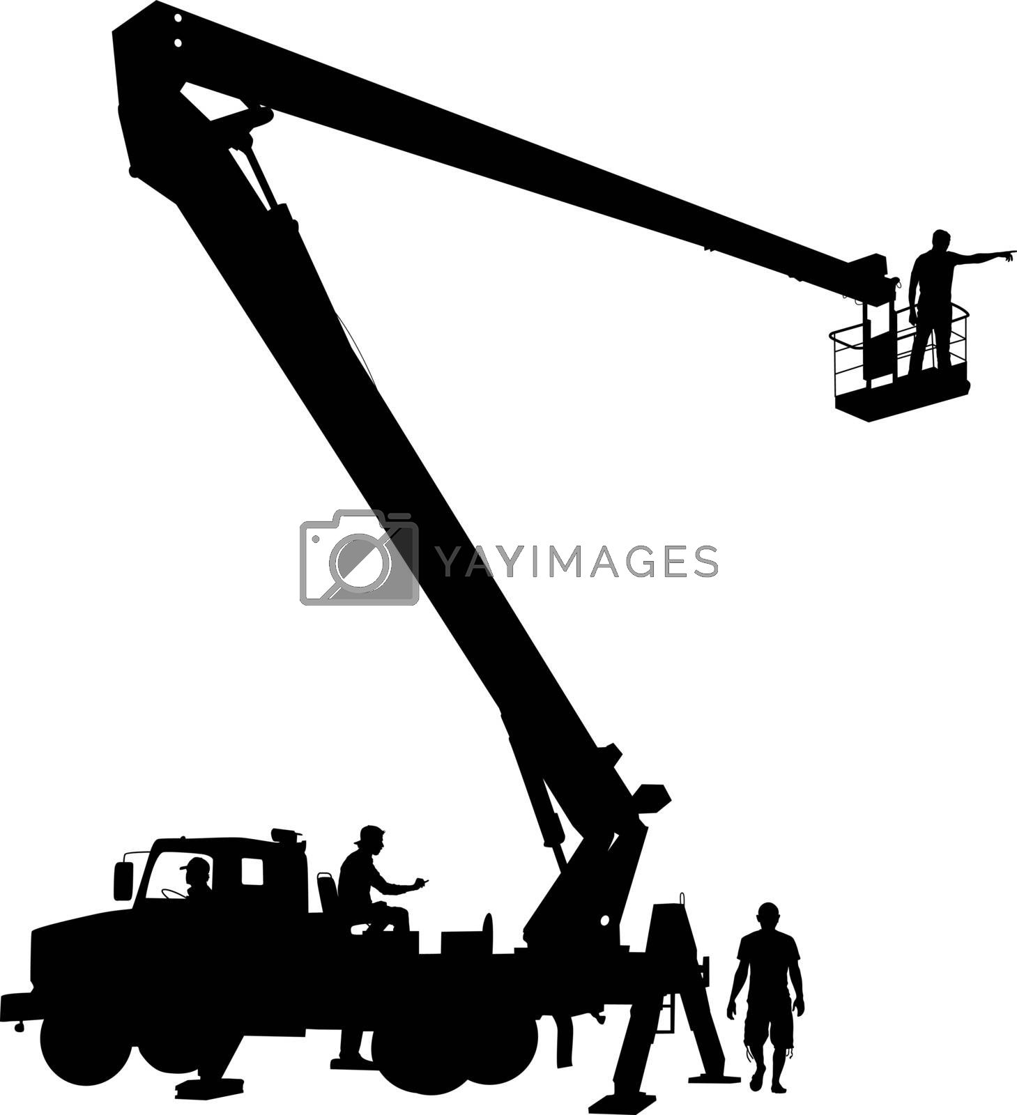 Electrician, making repairs at a power pole. Vector illustration.