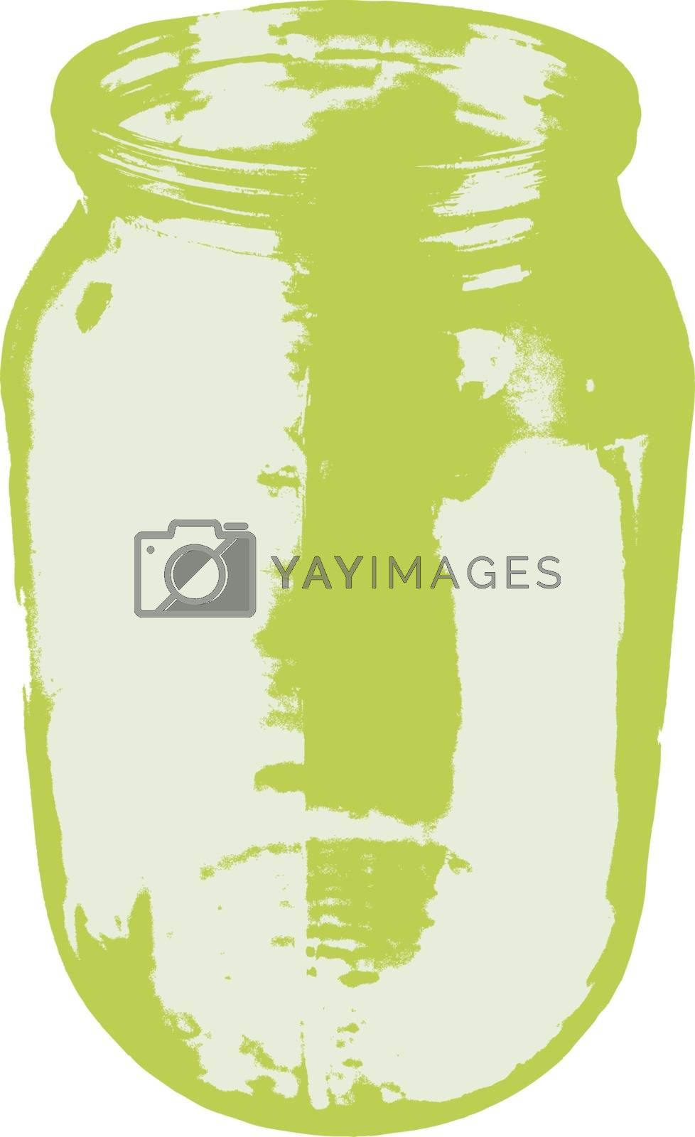Empty glass jar isolated on a white background. Vector illustration.