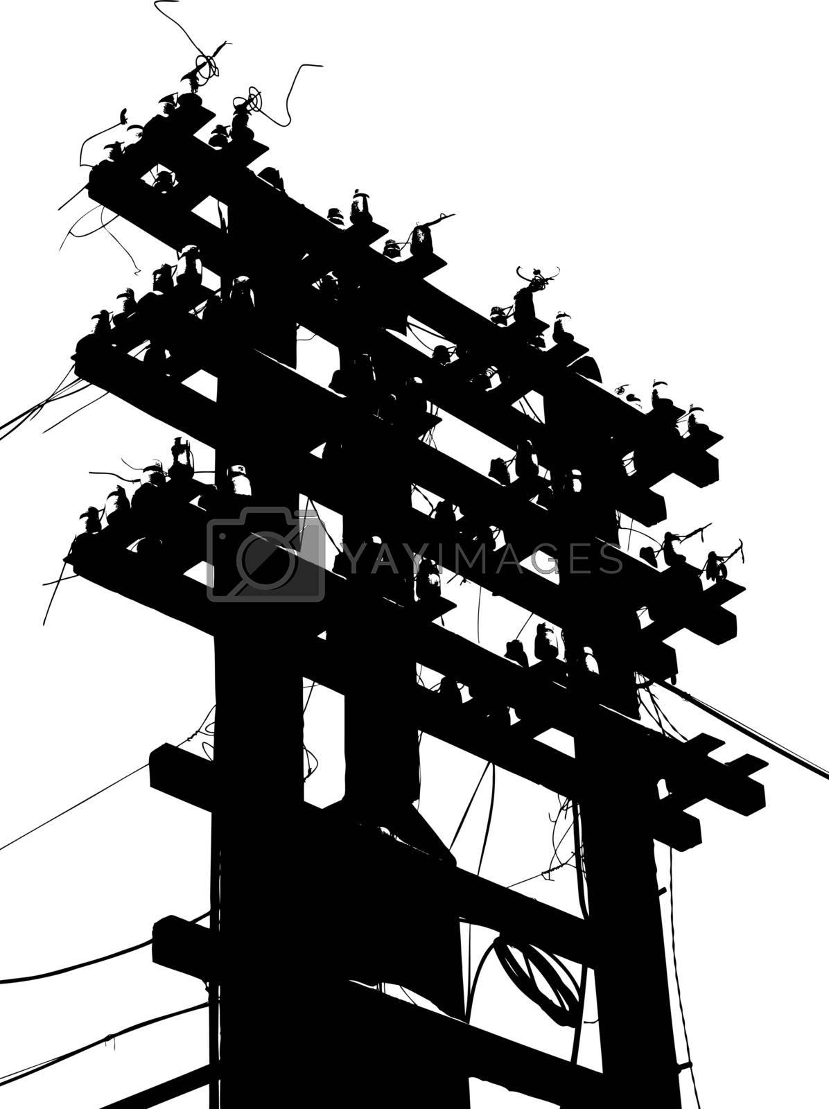 Old decrepit wooden telephone pole on  white background. Vector illustration.