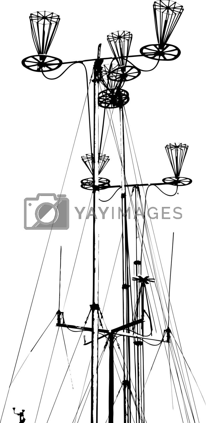Antenna for transmitting and receiving radio communications. Vector illustration.