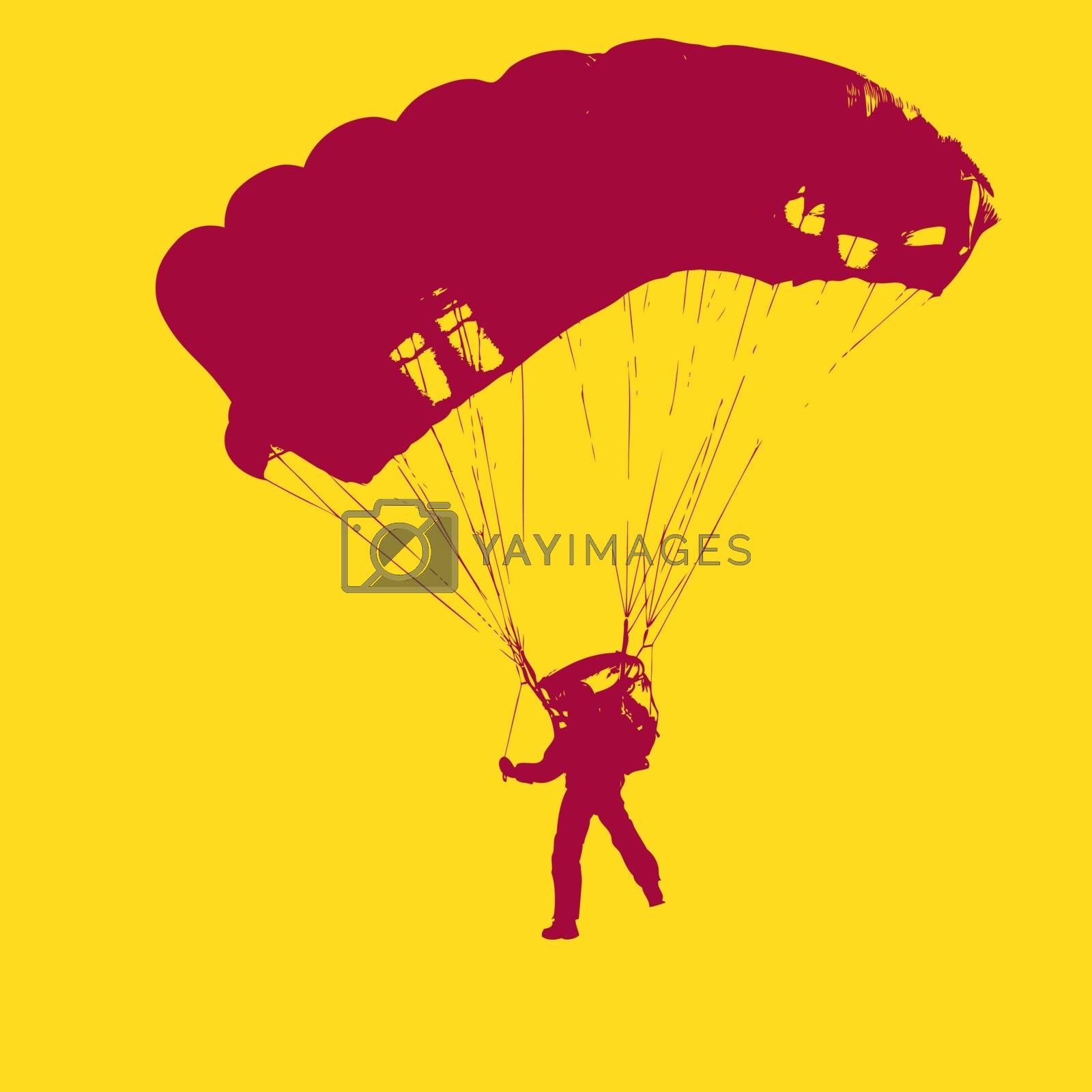 Parachutist Jumper in the helmet after the jump. Vector illustration.