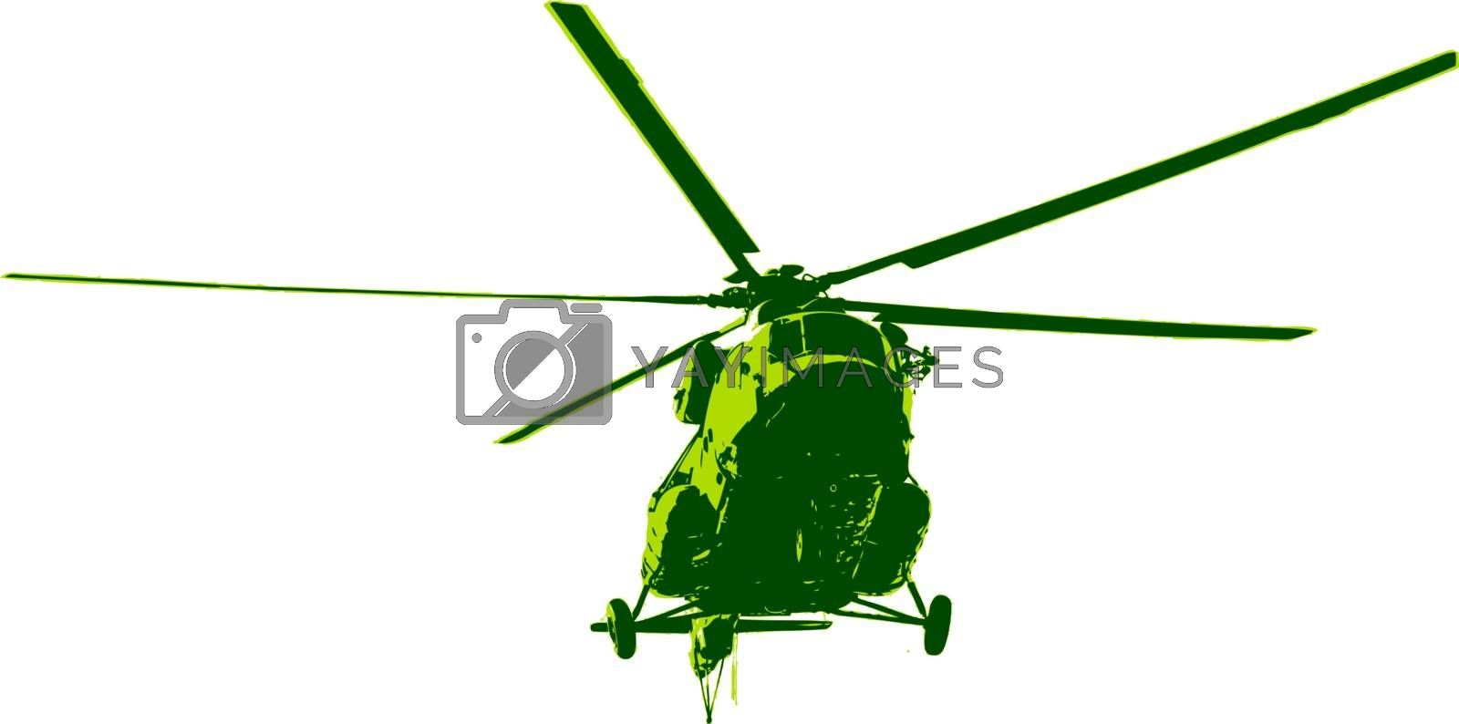 Russian army Mi-8 helicopter. Vector illustration.