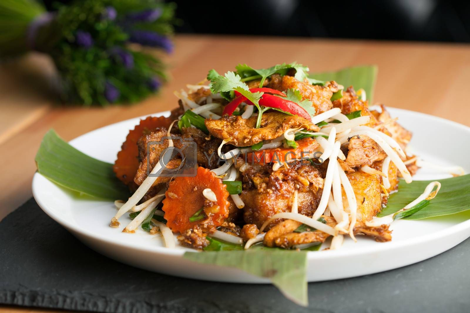 Thai style radish cakes dish with chicken.  Also referred to as turnip cakes. Shallow depth of field.