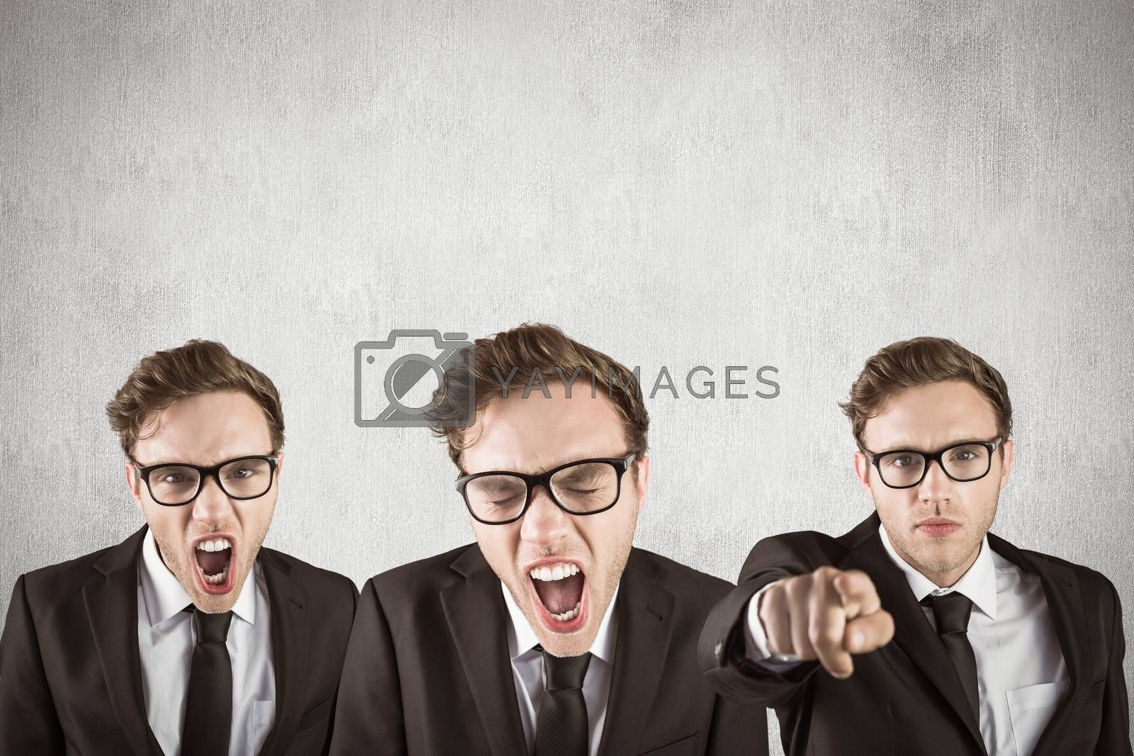 Nerdy businessman shouting against white and grey background