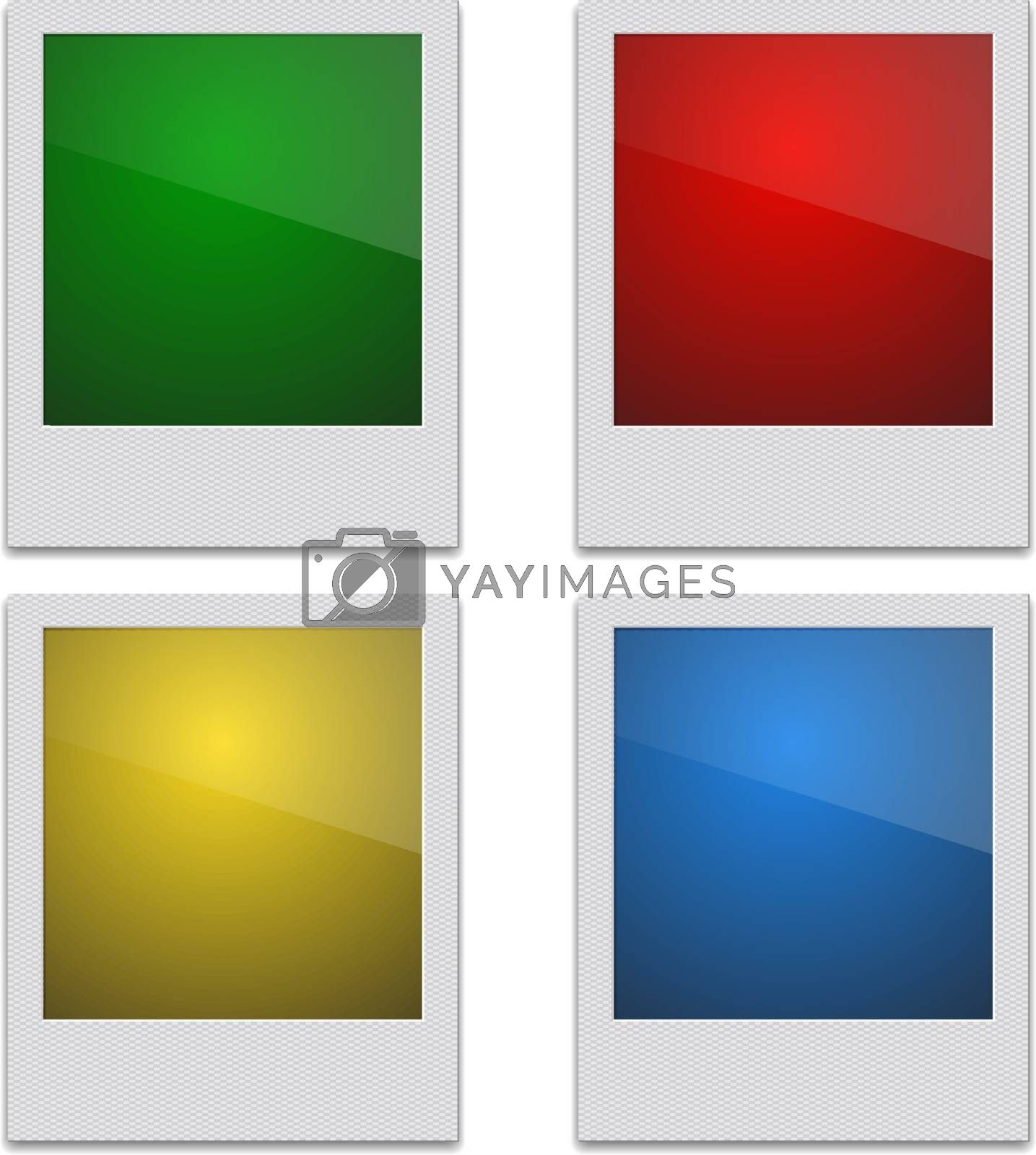 Set Color Retro Photo Frame Polaroid  On White Background. Vector illustration