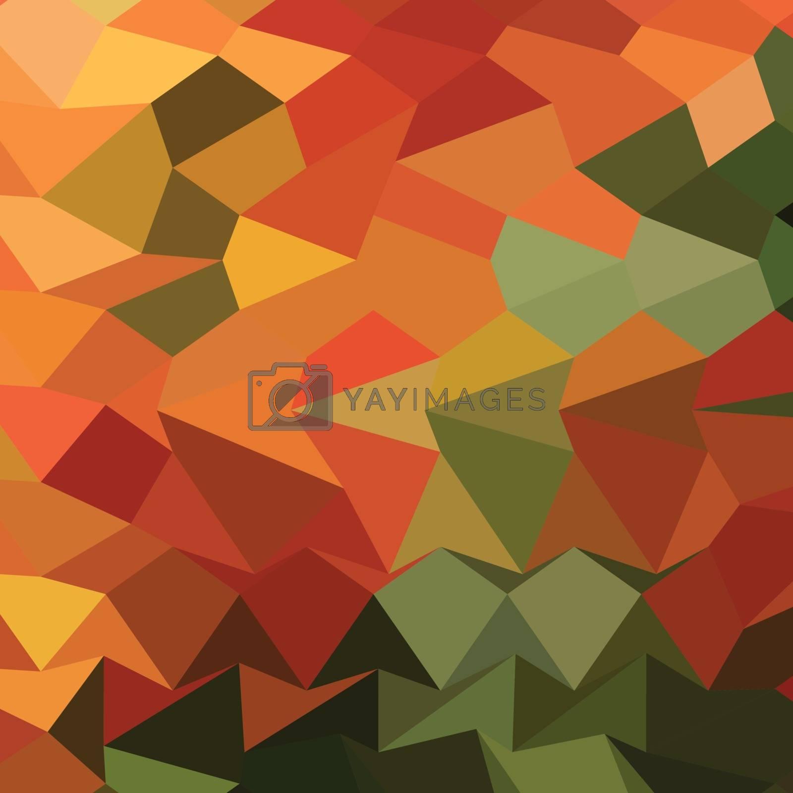 Low polygon style illustration of deep saffron orange abstract geometric background.
