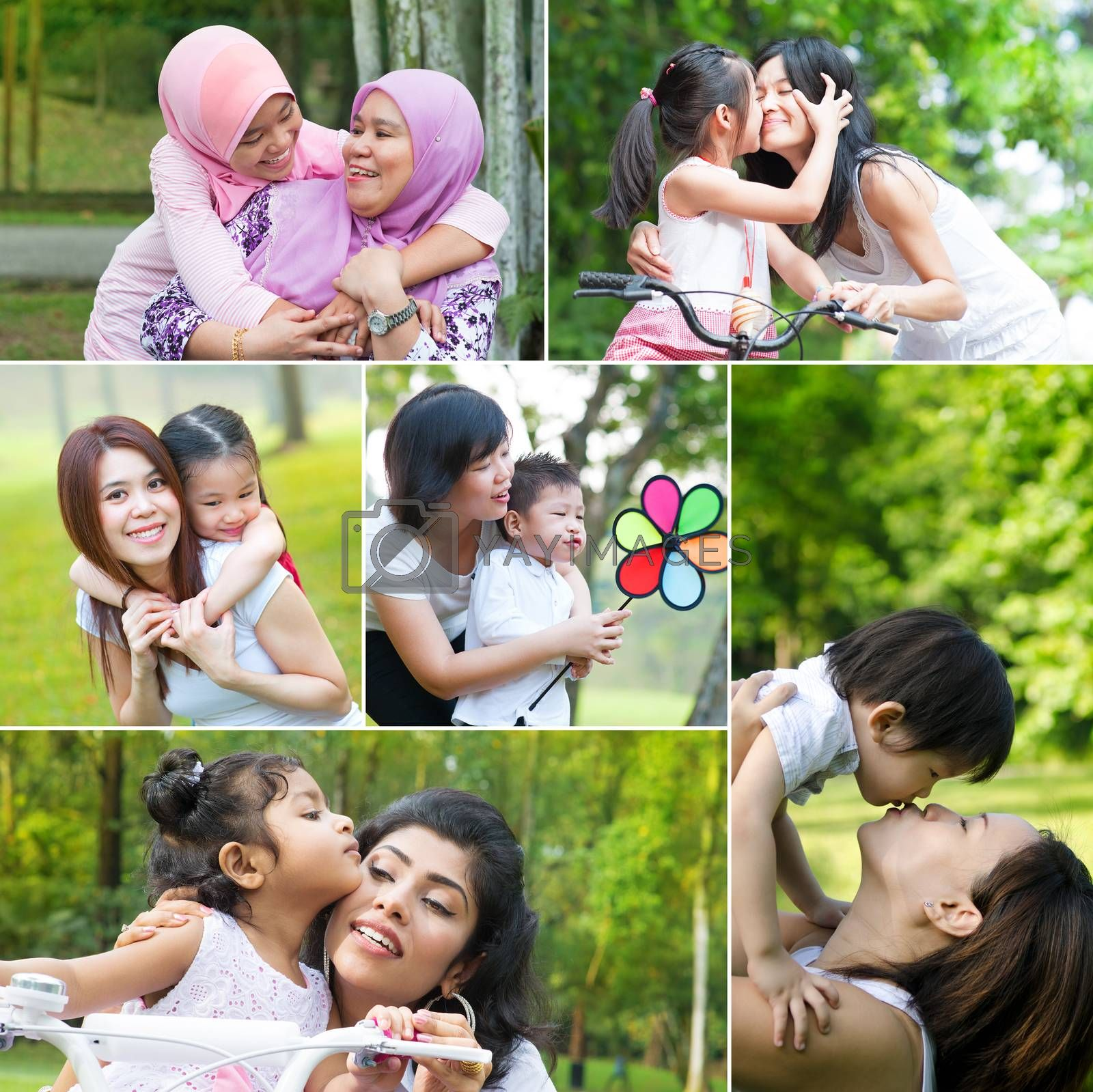 Collage photo mothers day concept. Mixed race family generations having fun at outdoor park. All photos belong to me.