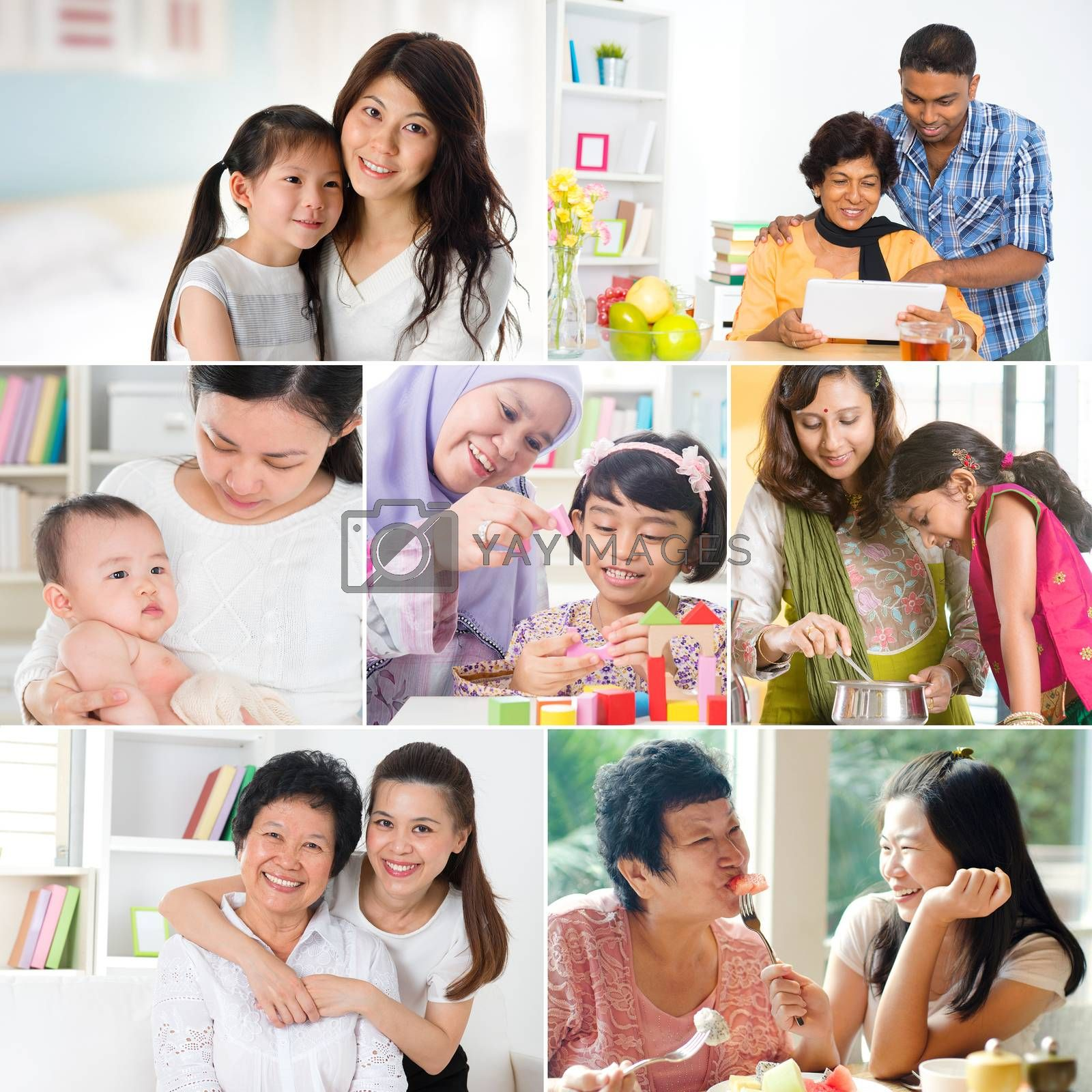 Collage photo mothers day concept. Mixed race family generations having fun indoors living lifestyle. All photos belong to me.