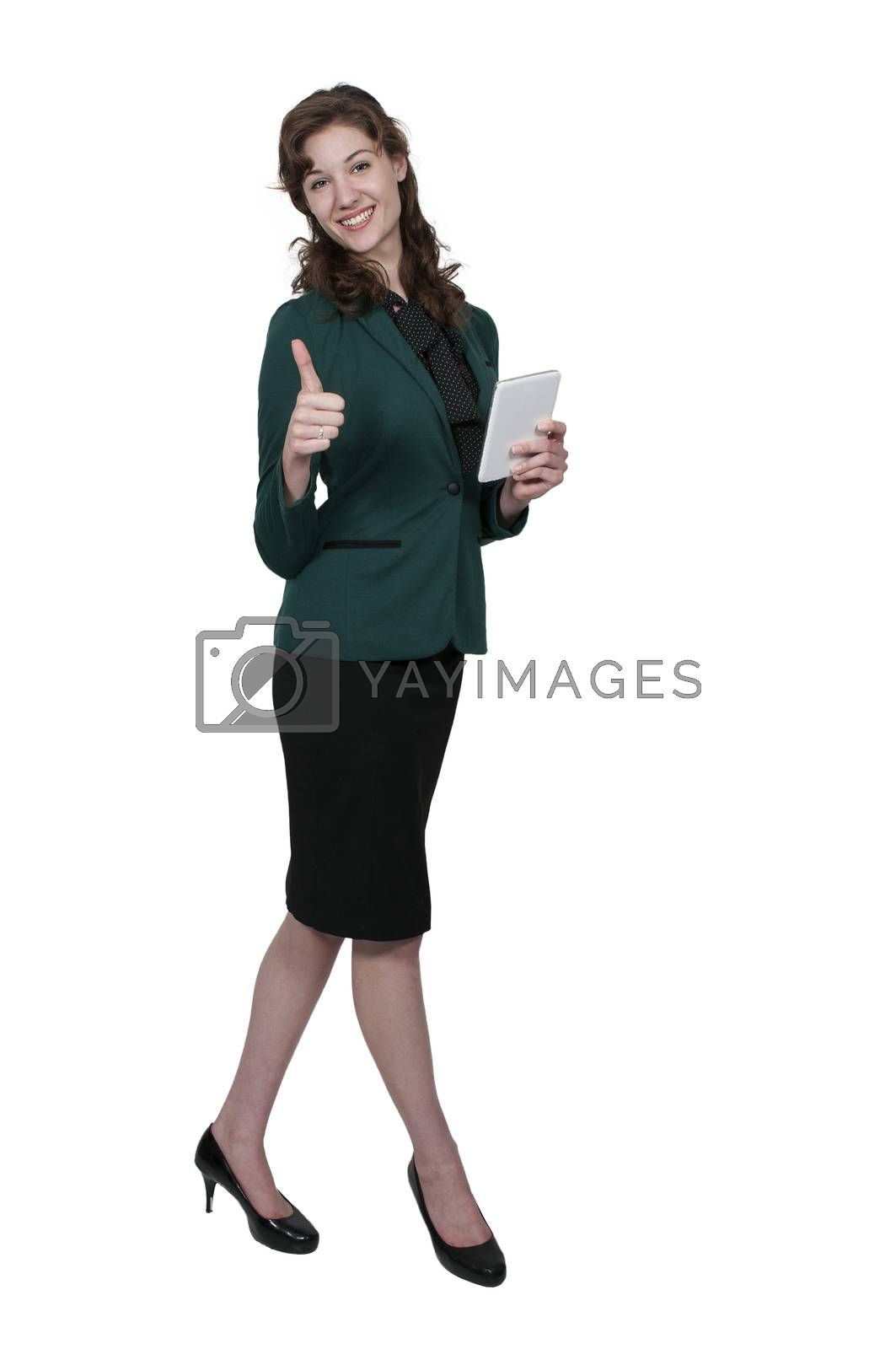 Beautiful technologically savvy woman using a tablet