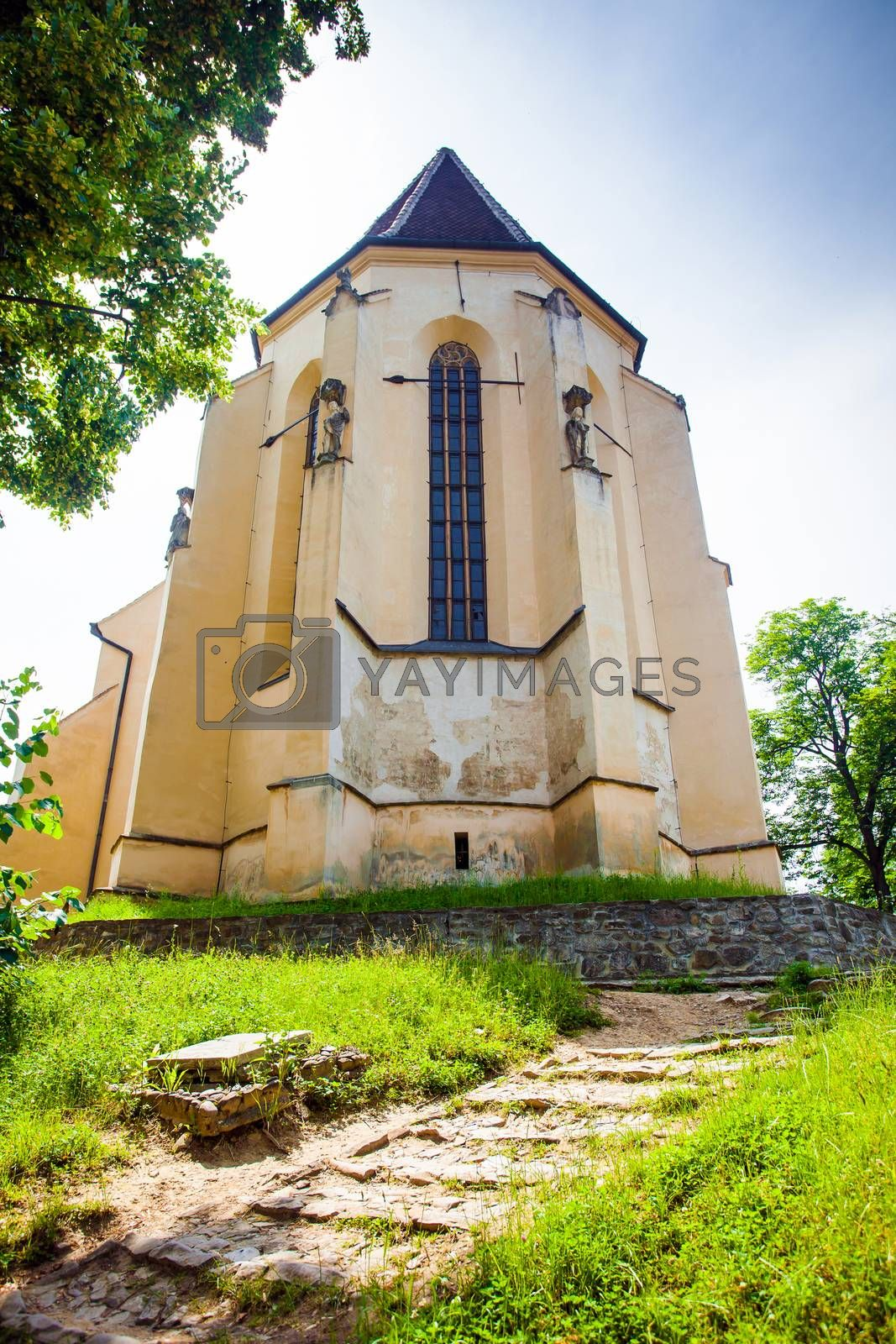 Turda, Romania - June 23, 2013: Church of the Hill from Sighisoara medieval city, Transylvania, Romania